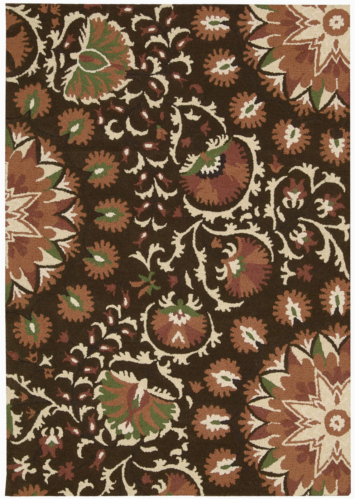 nourison suzani suz02 brown hand tufted area rug