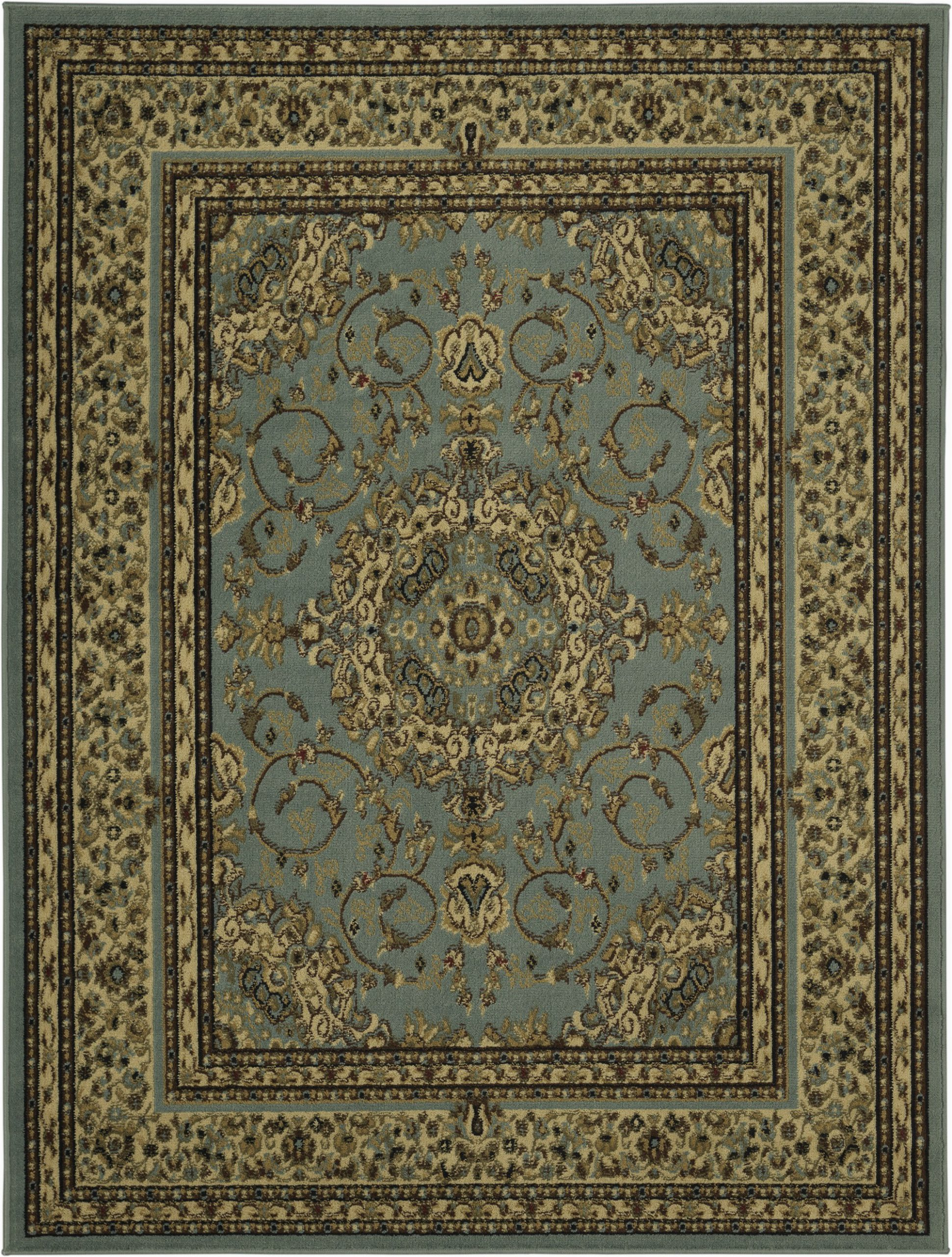 ottomanson royal collection new traditional oriental medallion design area rug 53x70 blue sage