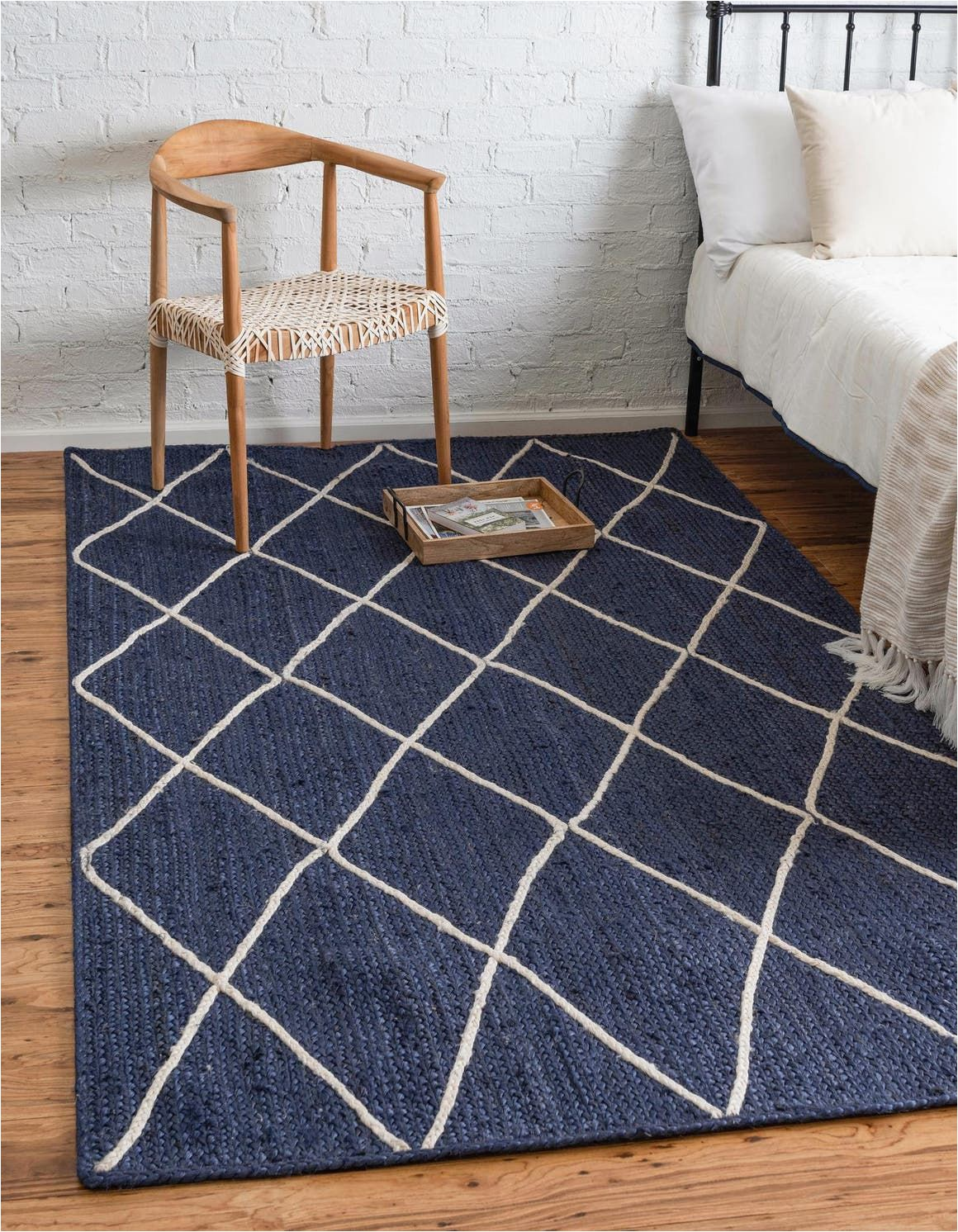 Overstock Rugs 8×10 Blue Braided Jute Navy Blue 9×12 area Rug In 2020