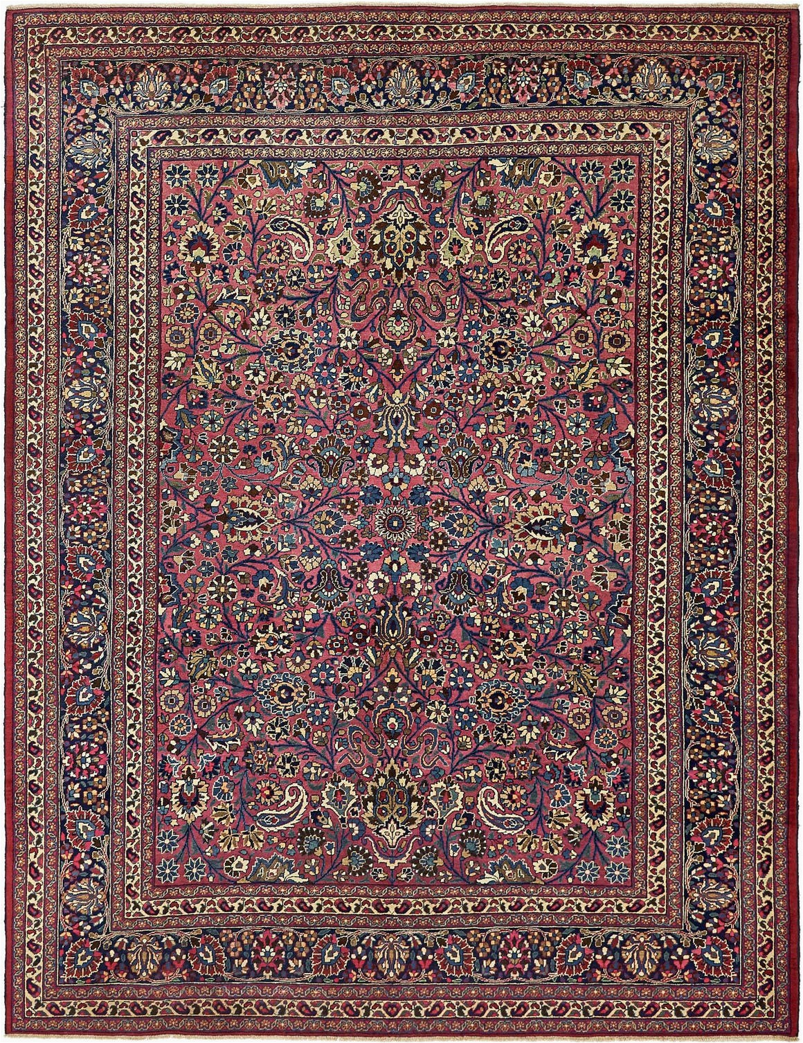 Pink and Blue Persian Rug 8 10 X 11 Mashad Persian Rug