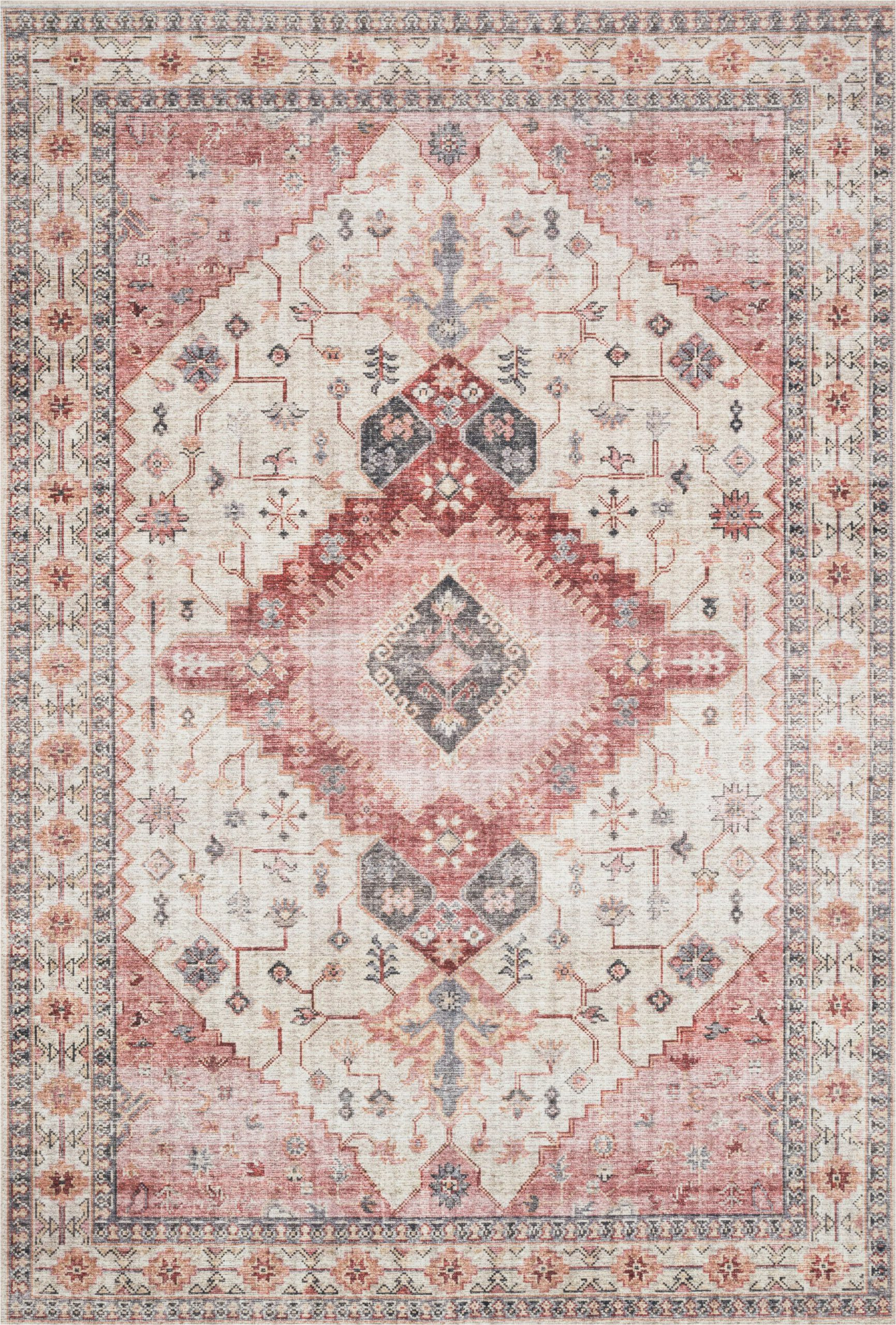 Pink and Blue Persian Rug Pink and Gray southwestern Boho Bohemian Persian Style Rug