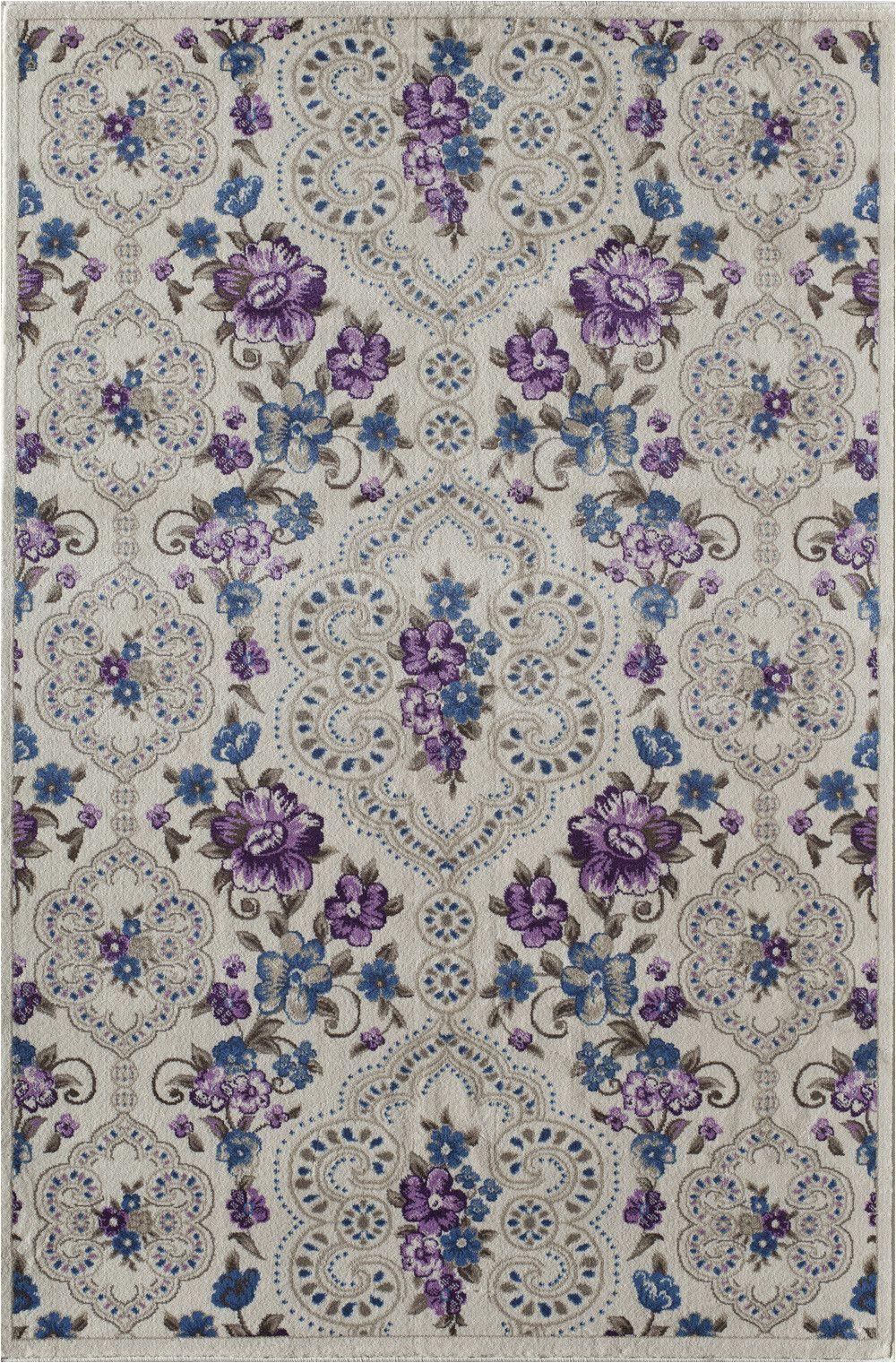 Purple area Rug for Bedroom Threadbind Nkhotakota White Purple area Rug