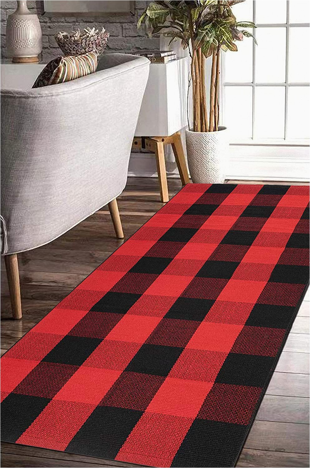 Red and Black Buffalo Check area Rug Earthall Buffalo Plaid Rug Red and Black Rug Cotton Hand Woven Buffalo Check Rug Runner Hallway Runner Washable Plaid Outdoor Rug Entryway Front