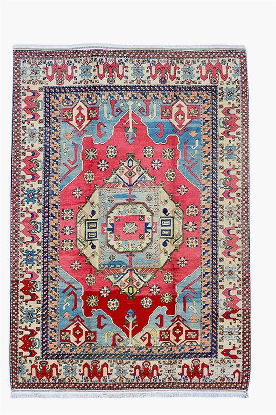 large red blue 9 x 12 vintage area rug
