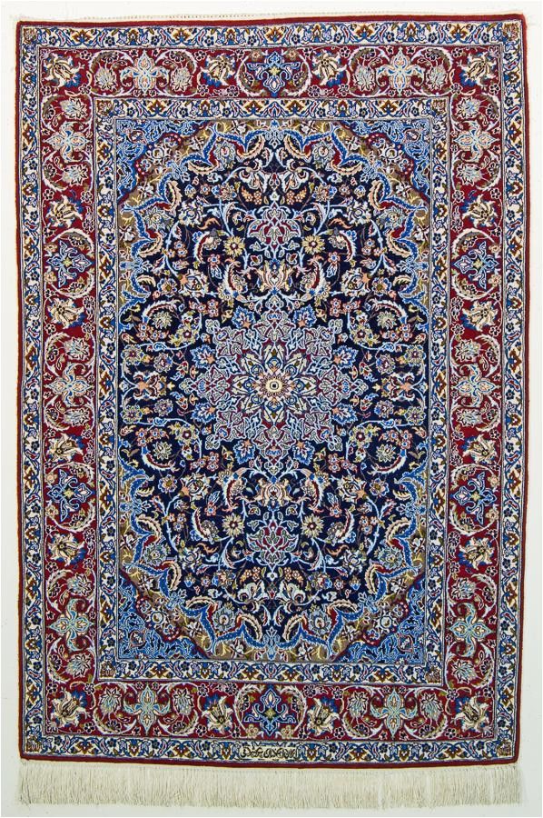 oriental rugs isfahan super fine wool and silk persian rug blue red bo2