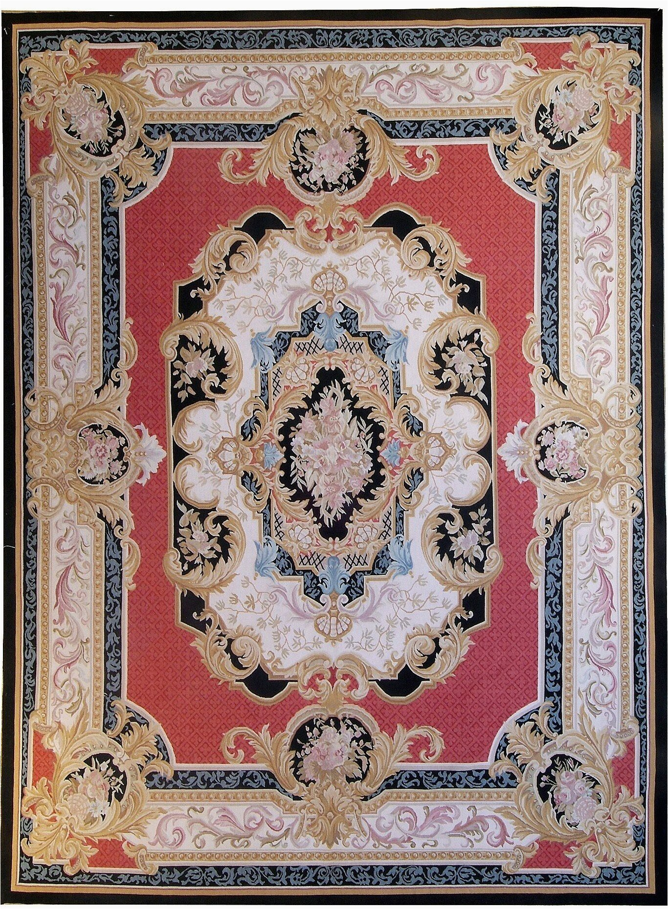 aubusson hand woven wool redgoldblack area rug