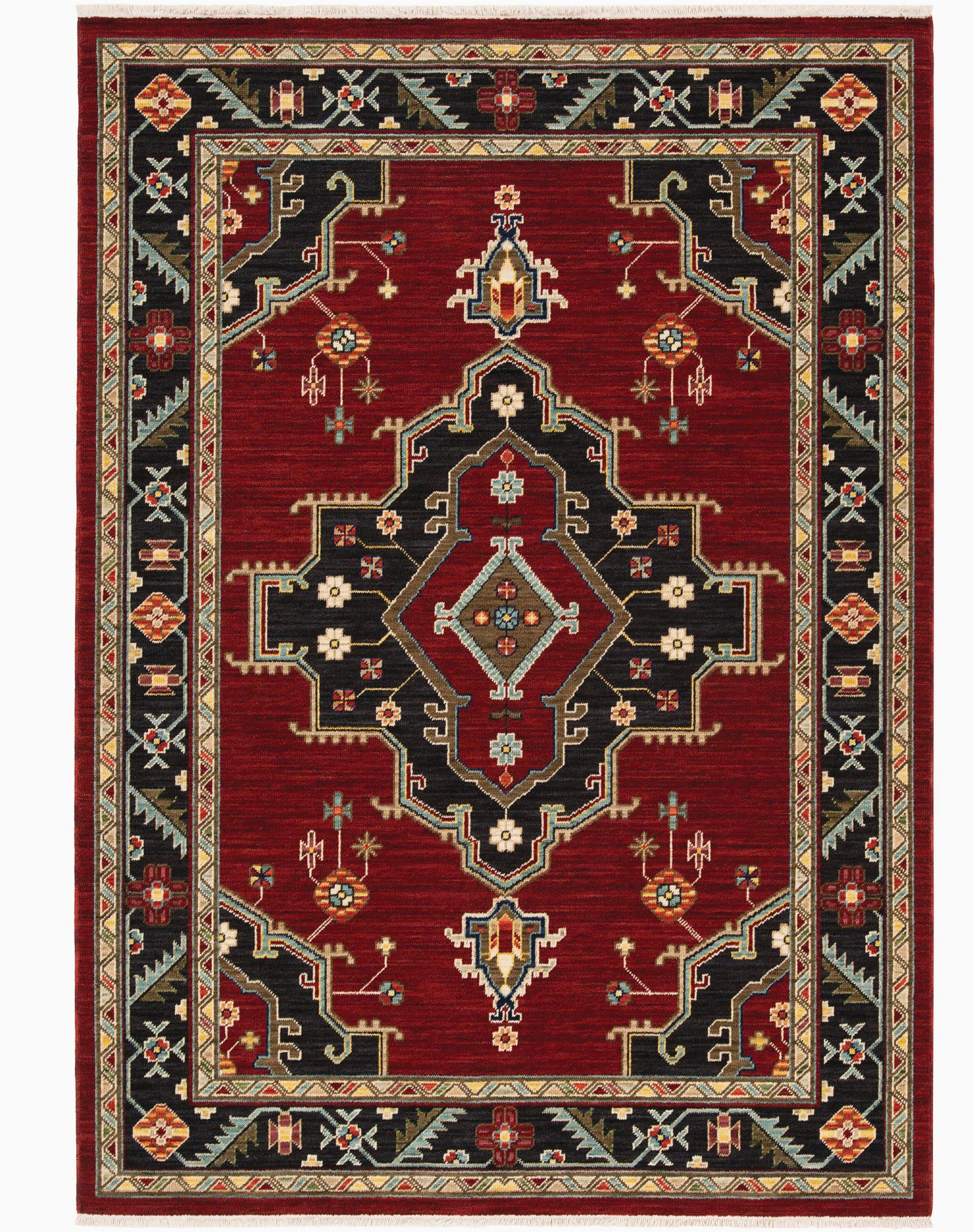 nimue oriental redblack area rug