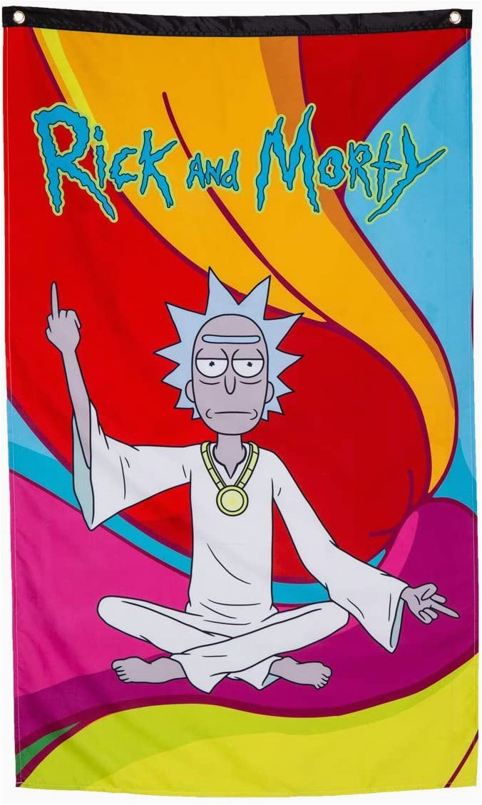 """Rick and Morty area Rug Calhoun Rick and Morty Indoor Wall Banner 30"""" by 50"""" Zen Rick"""
