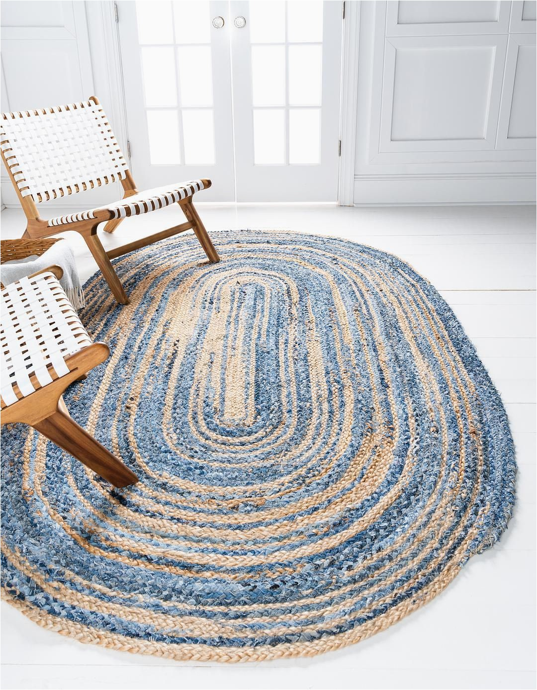 Round Blue Braided Rug Blue 5 X 8 Braided Chindi Oval Rug area Rugs