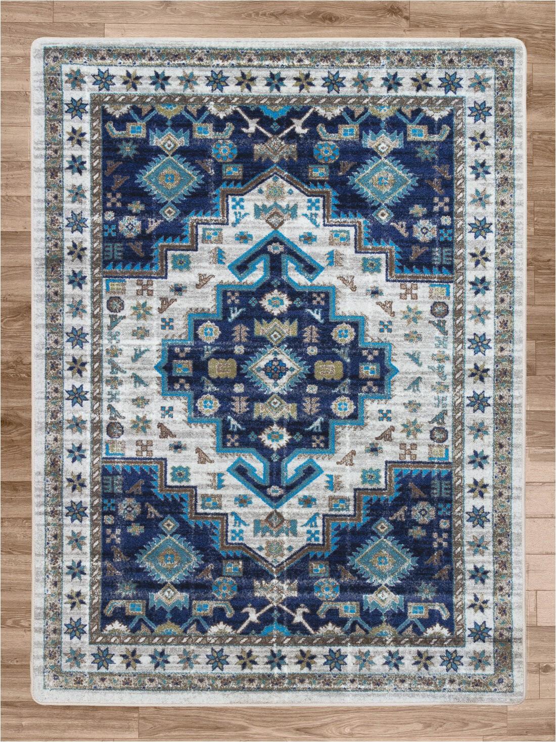 round lexy oriental power loom aqua rug