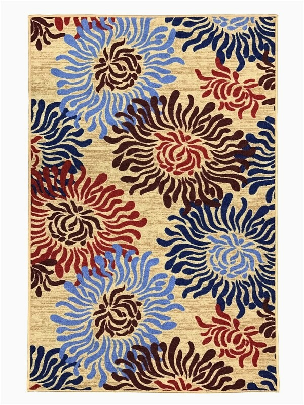 toccoa flowers trendy non skid rubber backed multicolor area rug