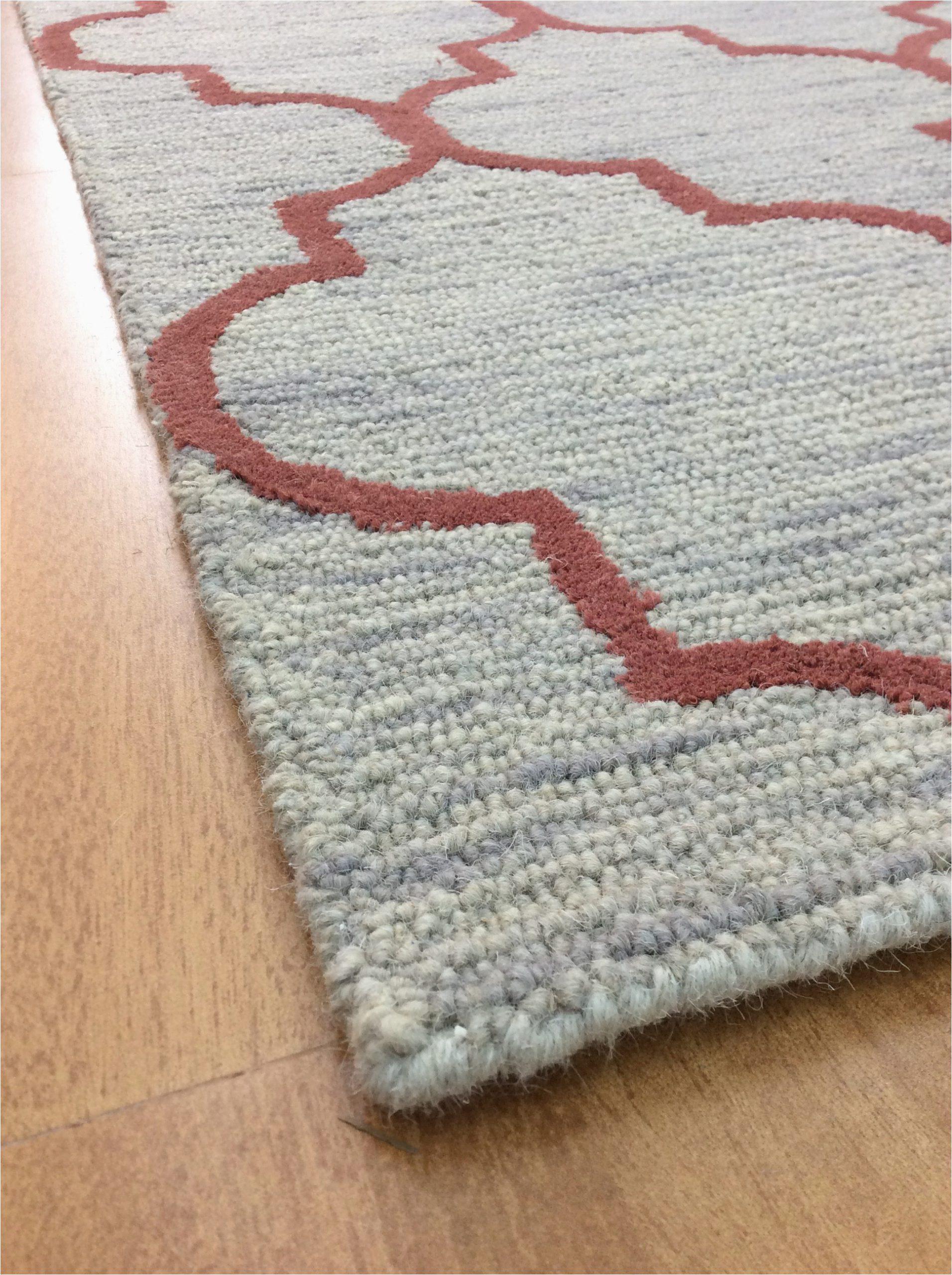 handmade wool modern gray rust 5x8 lt1163 area rug