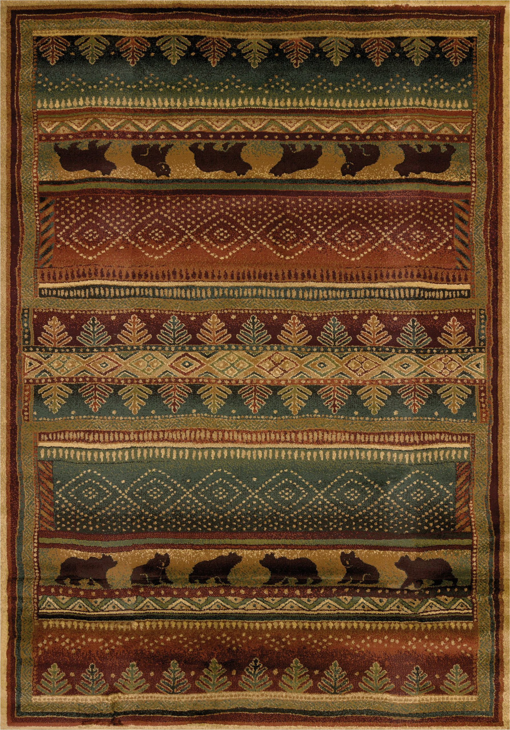 "Rustic Lodge Style area Rugs Bearwalk Color Multi Size 1 11"" X 7 4"""