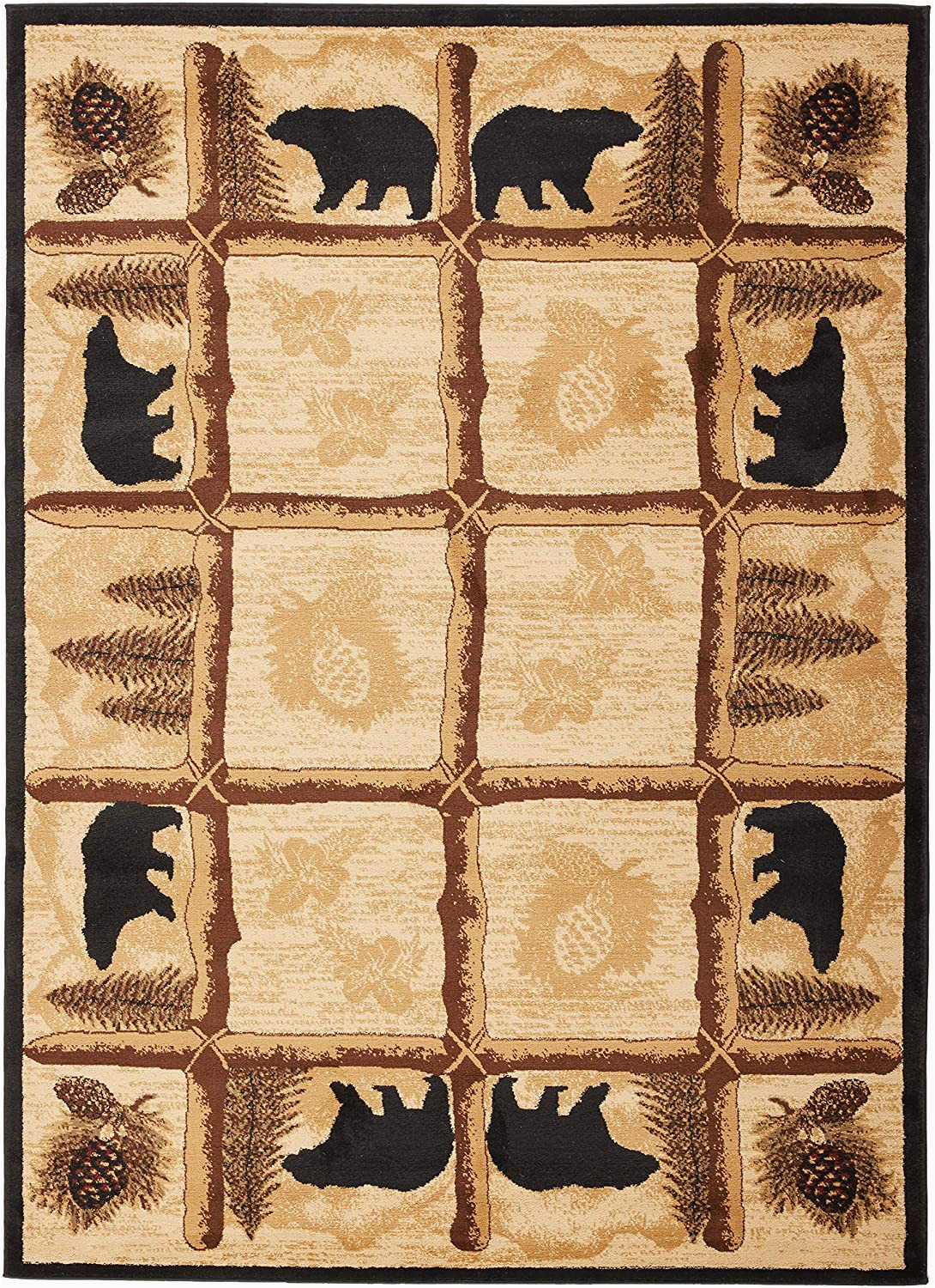 "Rustic Lodge Style area Rugs Rug Empire Rustic Lodge area Rug Bear Cabin 5 3"" X 7 3"""