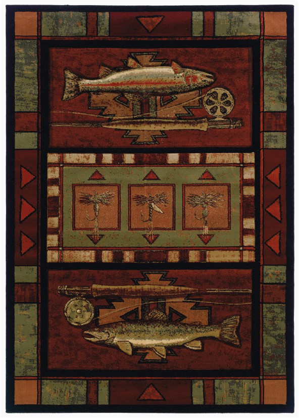 Rustic Lodge Style area Rugs Rugs — Rainbow Trout Cabin Rug — Woodland Things