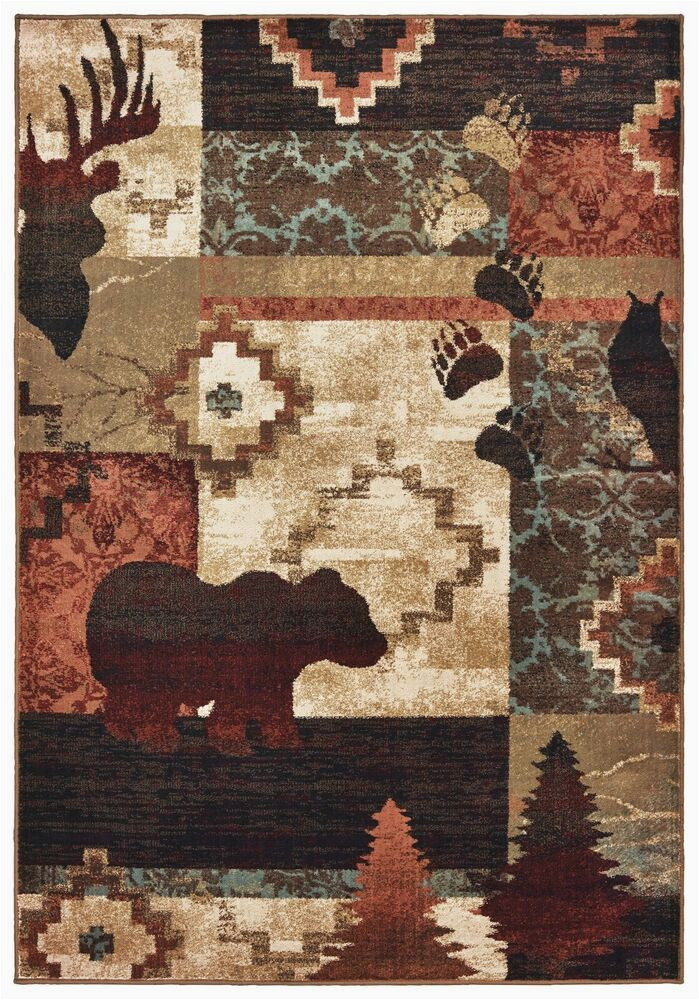 Rustic Lodge Style area Rugs Woodlands 9649a Rustic Lodge Cabin area Rug Moose Bear