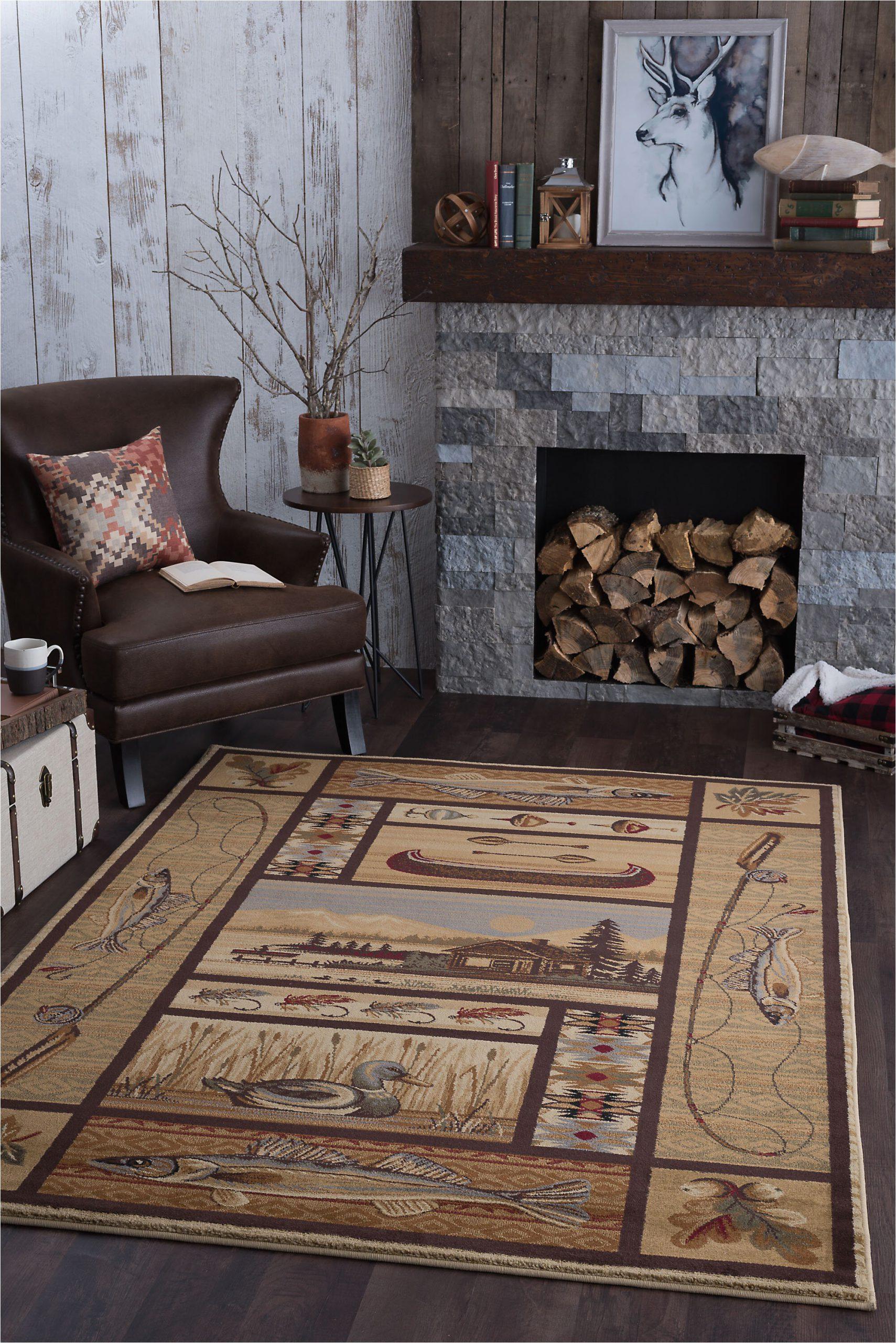 Rustic Log Cabin area Rugs Justine Ivory Beige Rug