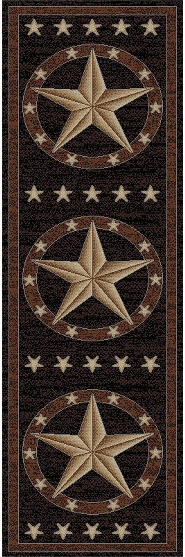 Rustic Texas Star area Rugs Rustic Western Texas Star Pattern area Rug Featuring Geometric Revolving Stars themed Runner Indoor Hallway Doorway Living area Bedroom Cabin