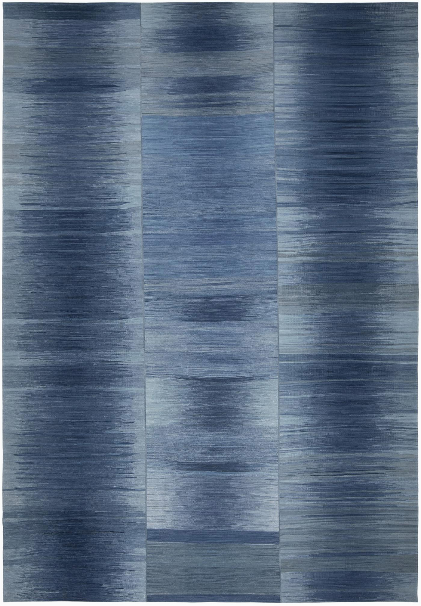 NASIRI Mazandaran Flatweave Rug in Shades of Blue