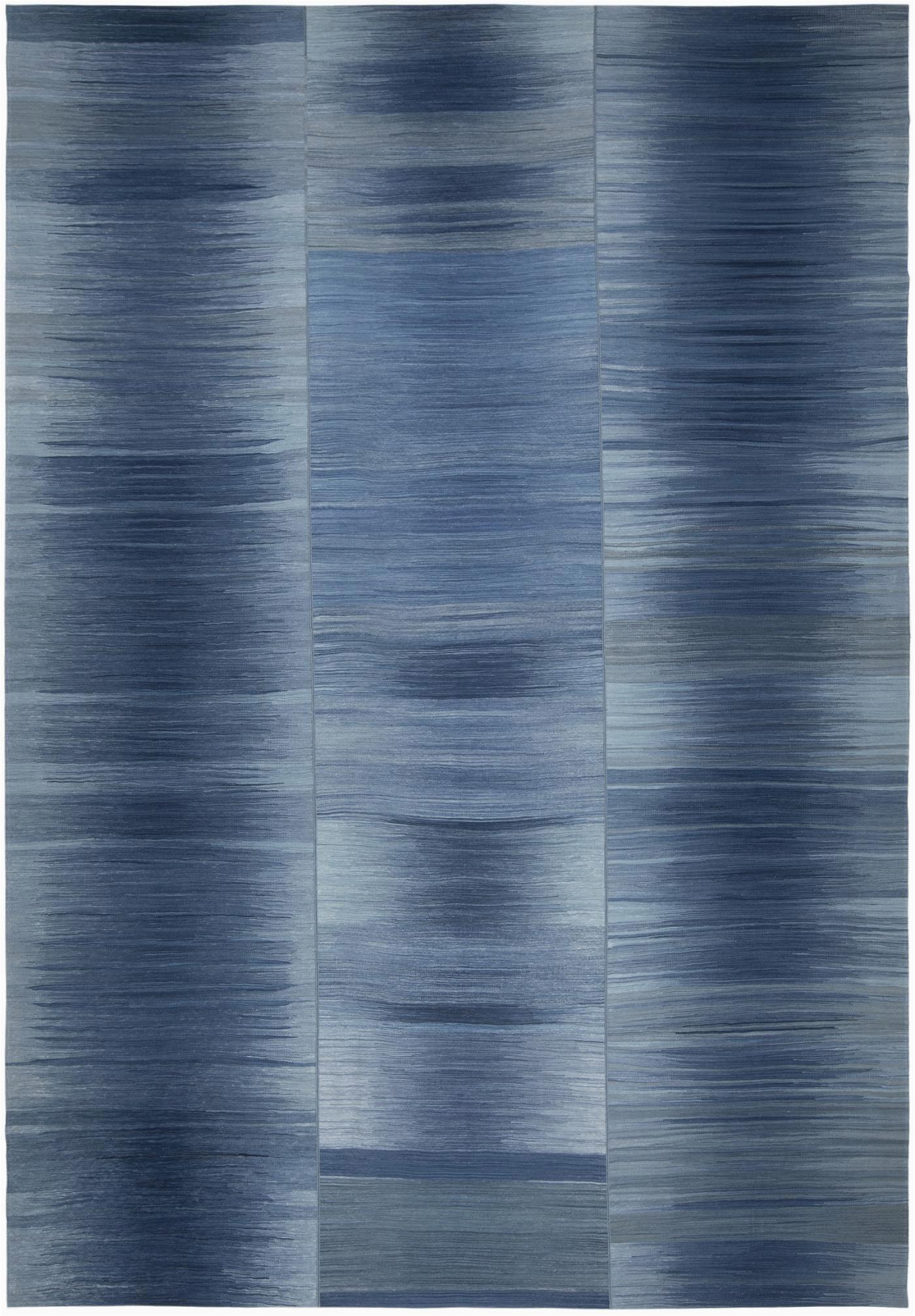NASIRI Mazandaran Flatweave Rug in Shades of Blue