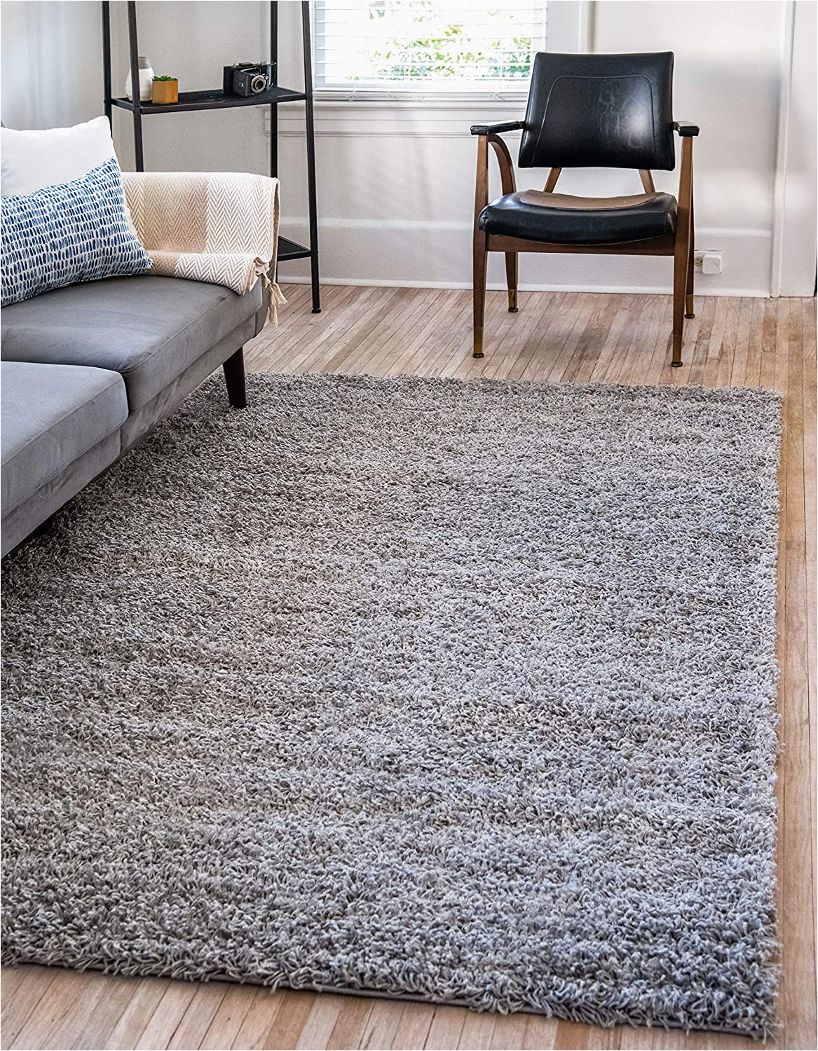 Solid Grey area Rug 5×7 Unique Loom solo solid Shag Collection Modern Plush Cloud Gray area Rug 5 0 X 8 0