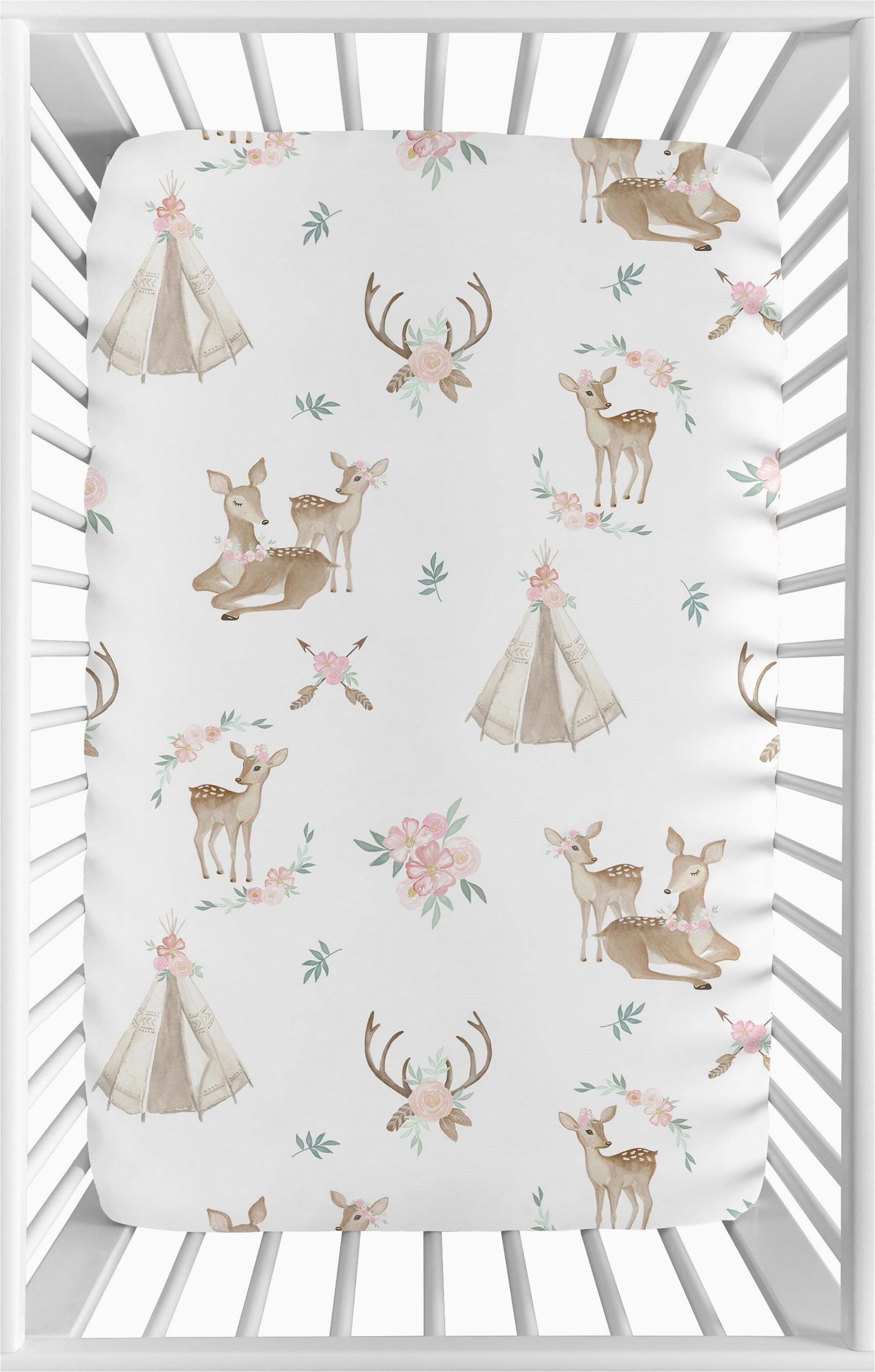 deer floral fitted crib sheet