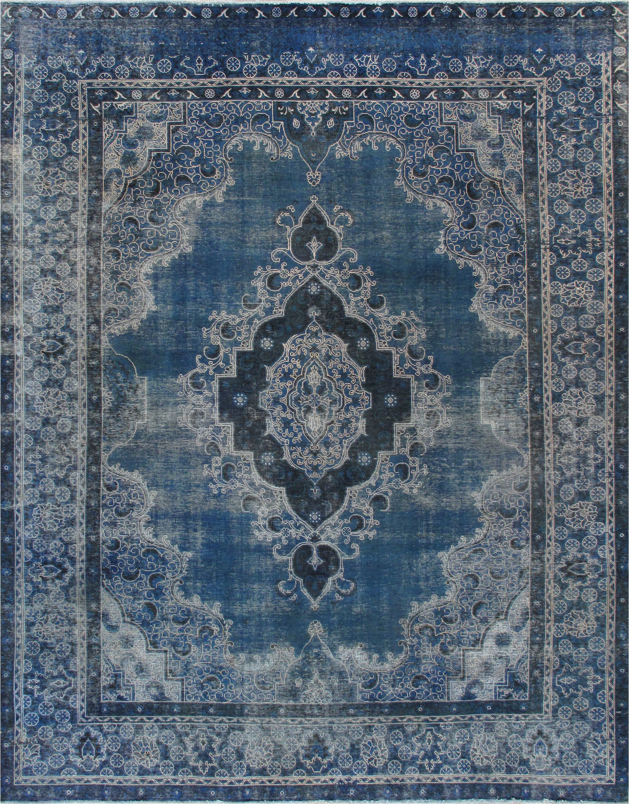 """10 X 12 Blue area Rugs 10 0"""" X 12 9"""" Vintage Overdyed Blue Rug"""