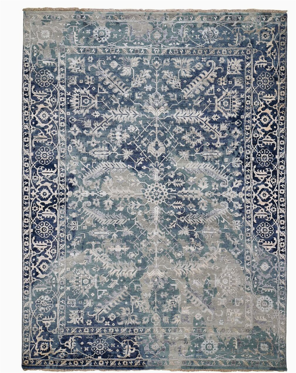 bloomsbury market one of a kind tur hand knotted blueivory 810 x 12 area rug w