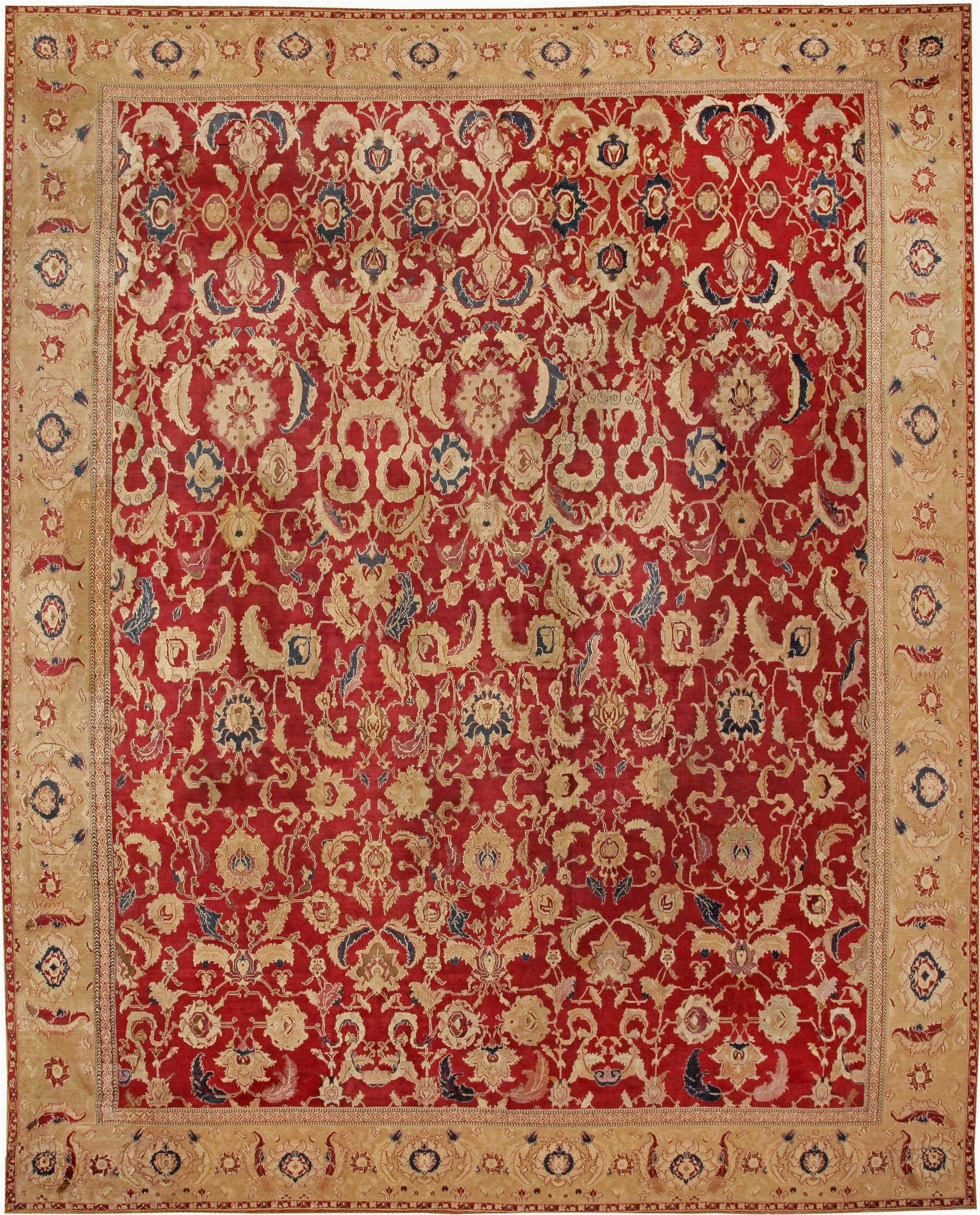 nazmiyal collection one of a kind indian hand knotted before 1900 agra gold 167 x 2010 wool area rug jnaz2498