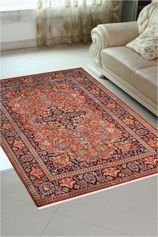 rust kashan 4 x 6 feet silk carpets india area rug
