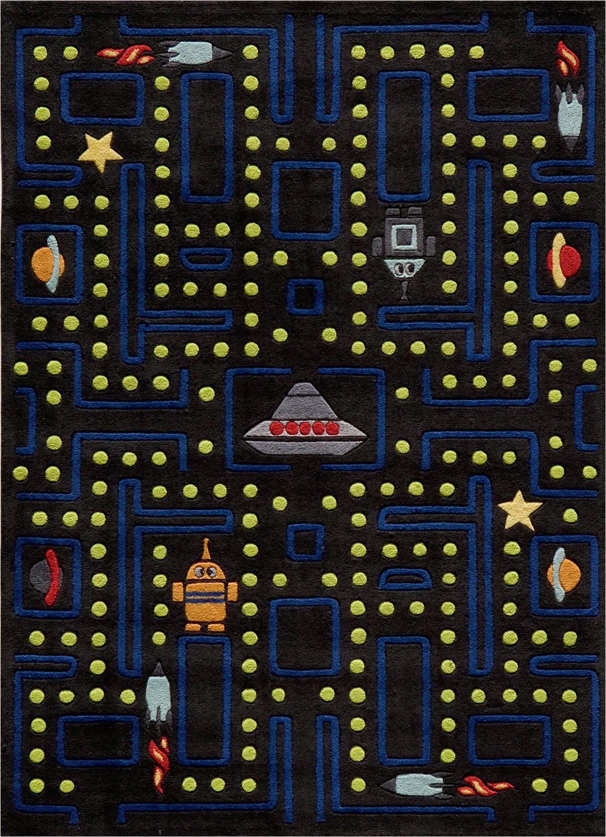 funkee i 5 x 7 arcade black area rug
