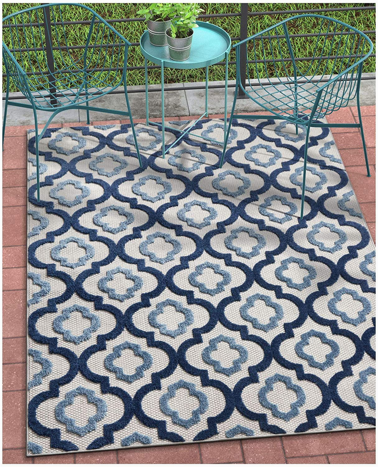 """5 X 7 Outdoor area Rugs Tangier Blue Indoor Outdoor Moroccan Trellis area Rug 5×7 5 3"""" X 7 3"""" High Traffic Stain Resistant Modern Traditional Carpet"""