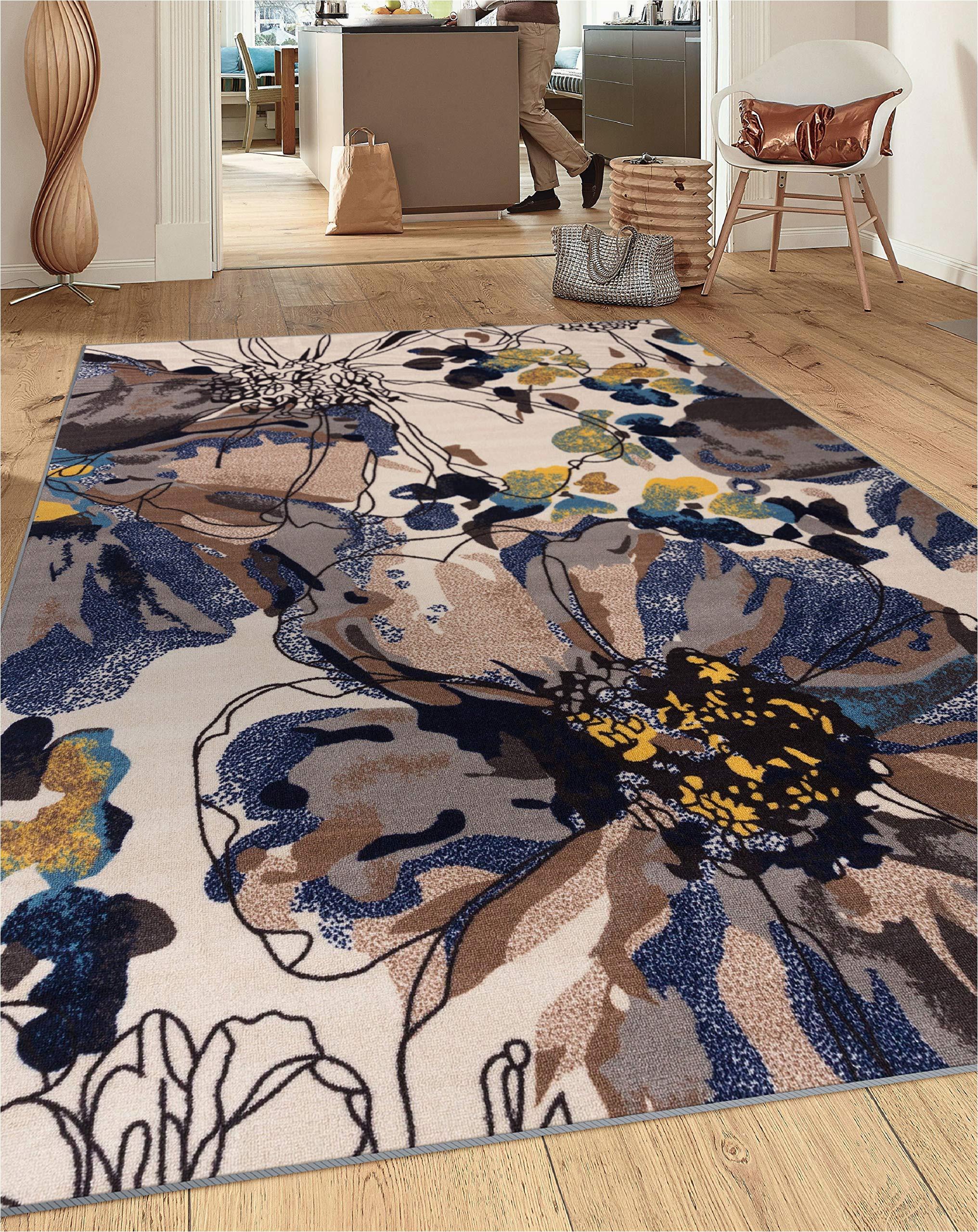 modern bright flowers non slip non skid area rug 5 x 7 5 3 x 7 3 cream