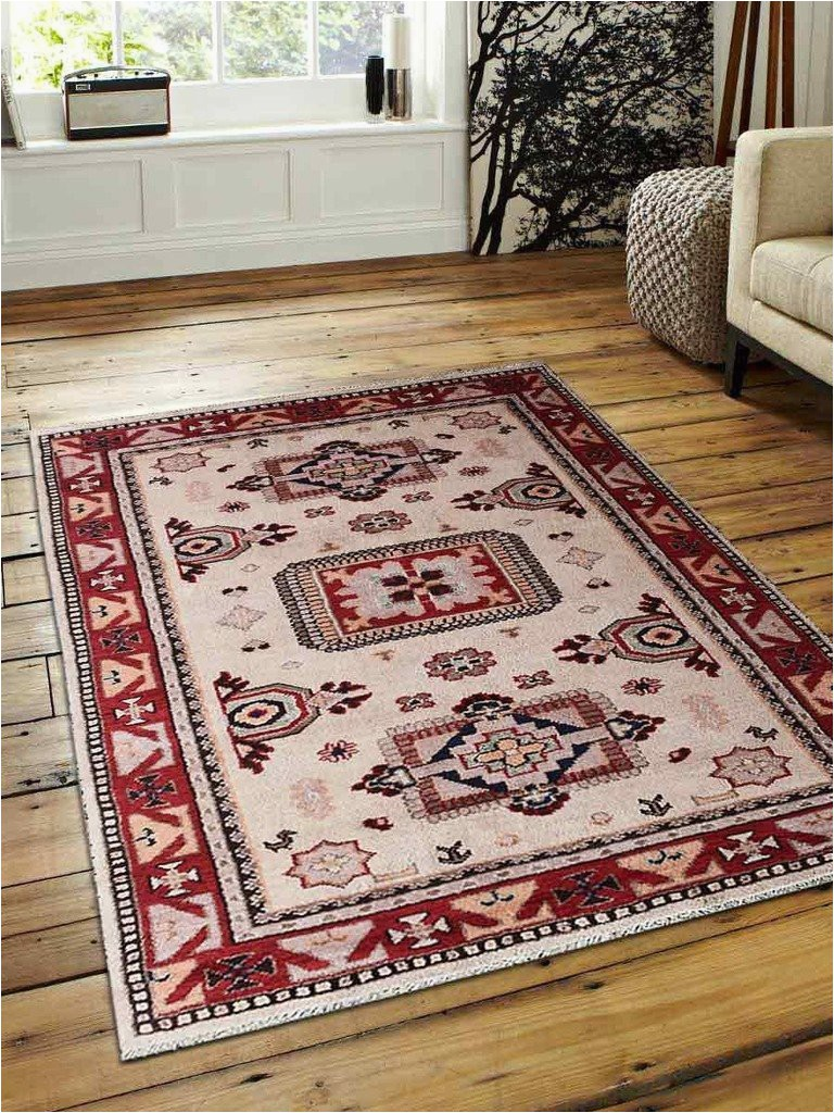 af0115k0926a15 8 x 10 ft hand knotted afghan wool and silk area rug cream and red kazak 75e9c88d4f1f4c568f f853deea4 p