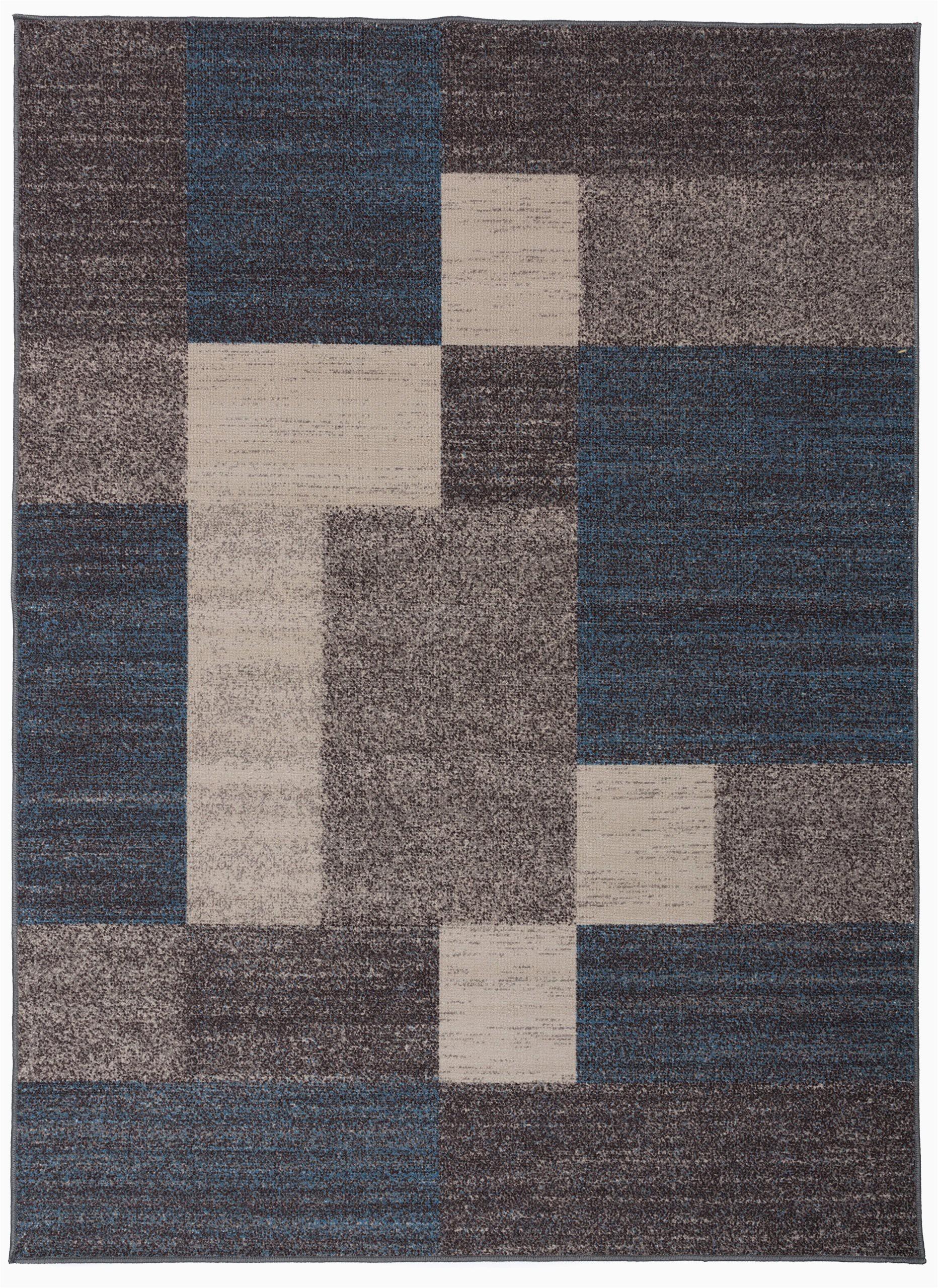 modern boxes design non slip non skid area rug 8 x 10 7 10 x 10 blue
