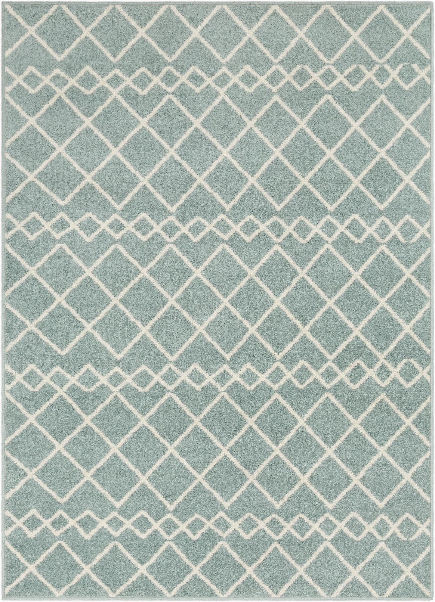 laylah geometric aquawhite area rug