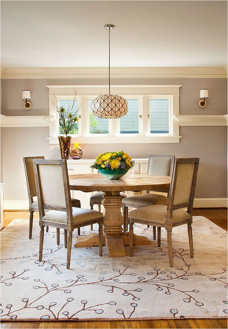 Craftsman style dining room with a gorgeous area rug