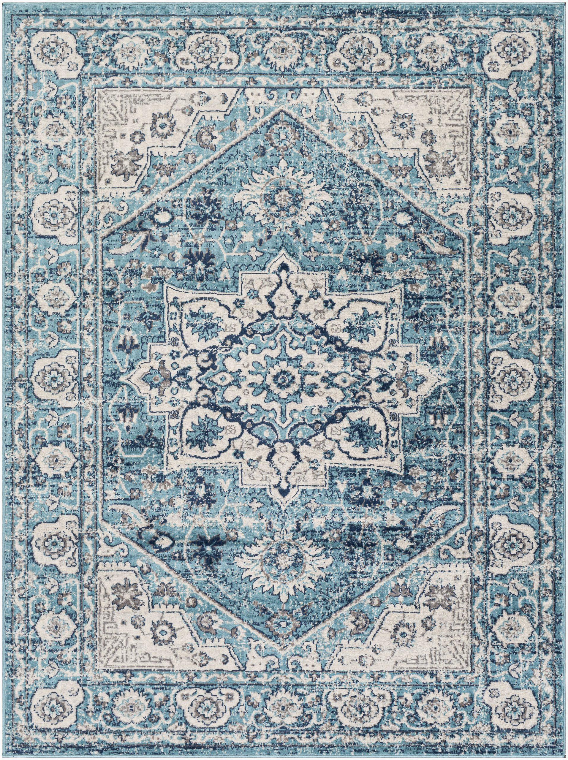 leaver floral tealnavy area rug