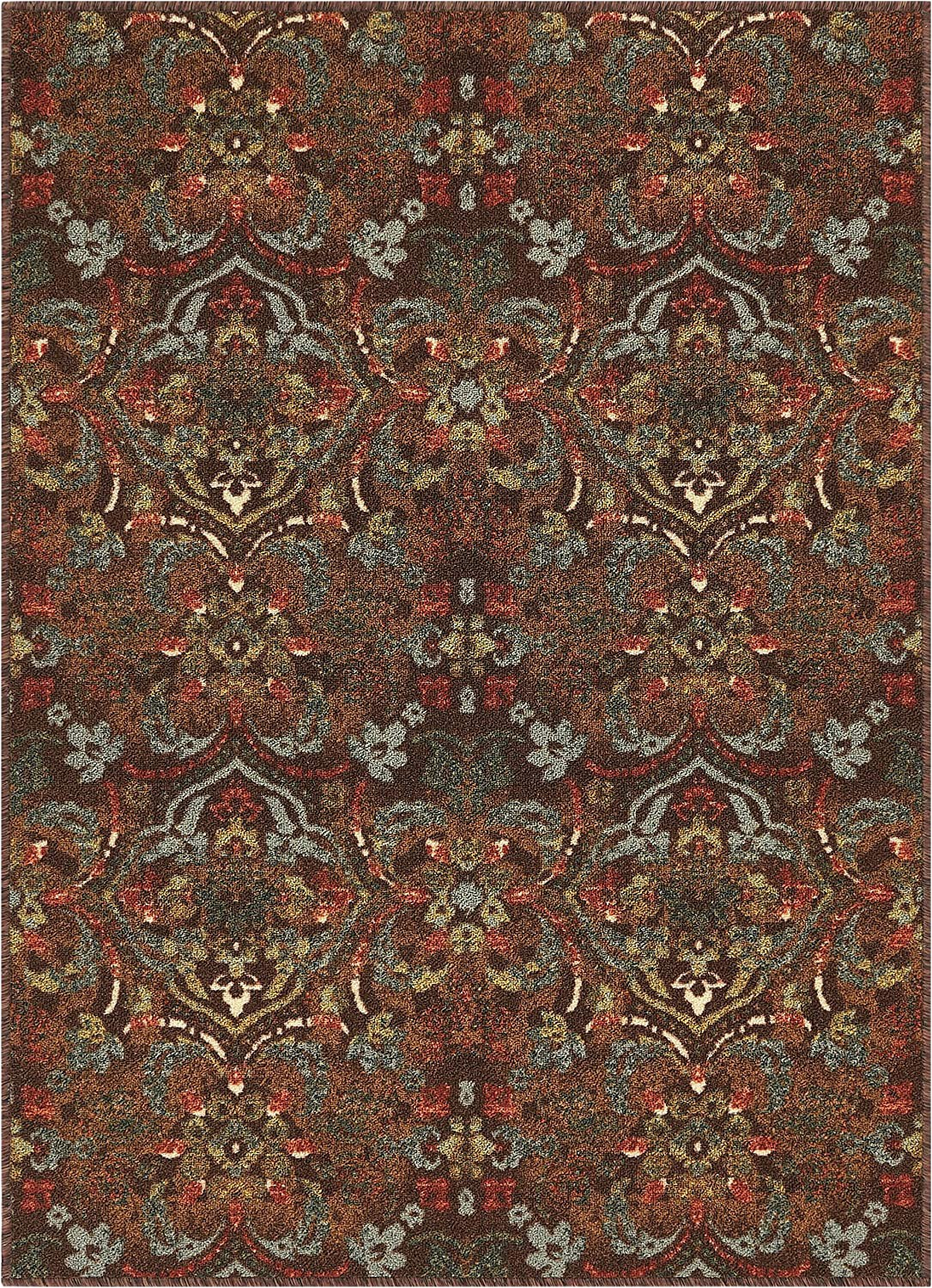 """Area Rugs with Non Slip Backing Well Woven Non Skid Slip Rubber Back Antibacterial 3×5 3 3"""" X 4 7"""" Traditional Persian Rug Brown Mutli Color Thin Low Pile Machine Washable Indoor"""