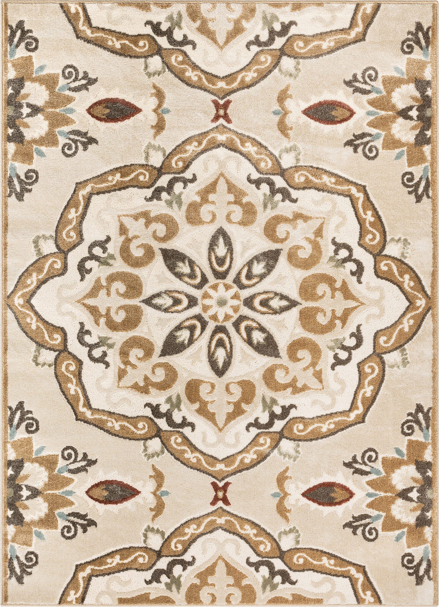 orchid dorit traditional mandala beigebrown area rug