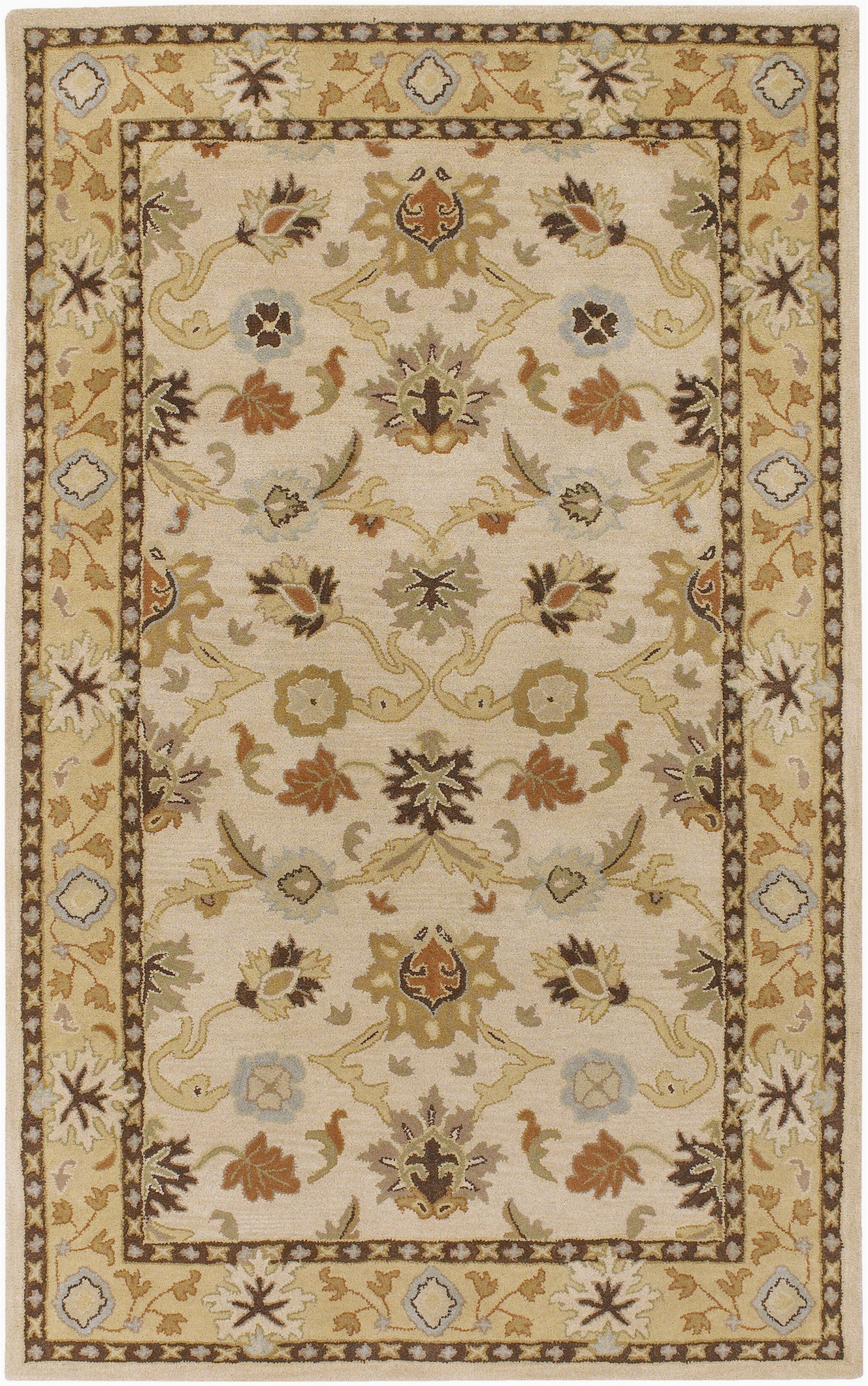 keefer floral handmade tufted wool bei an area rug