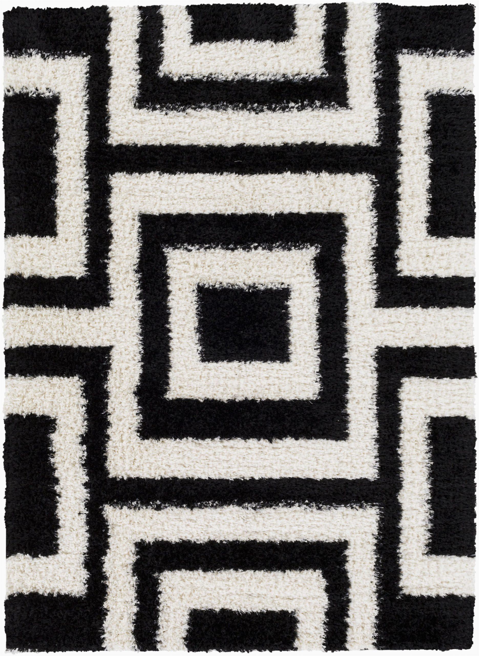 surya winfield wnf1005 black white shag area rug