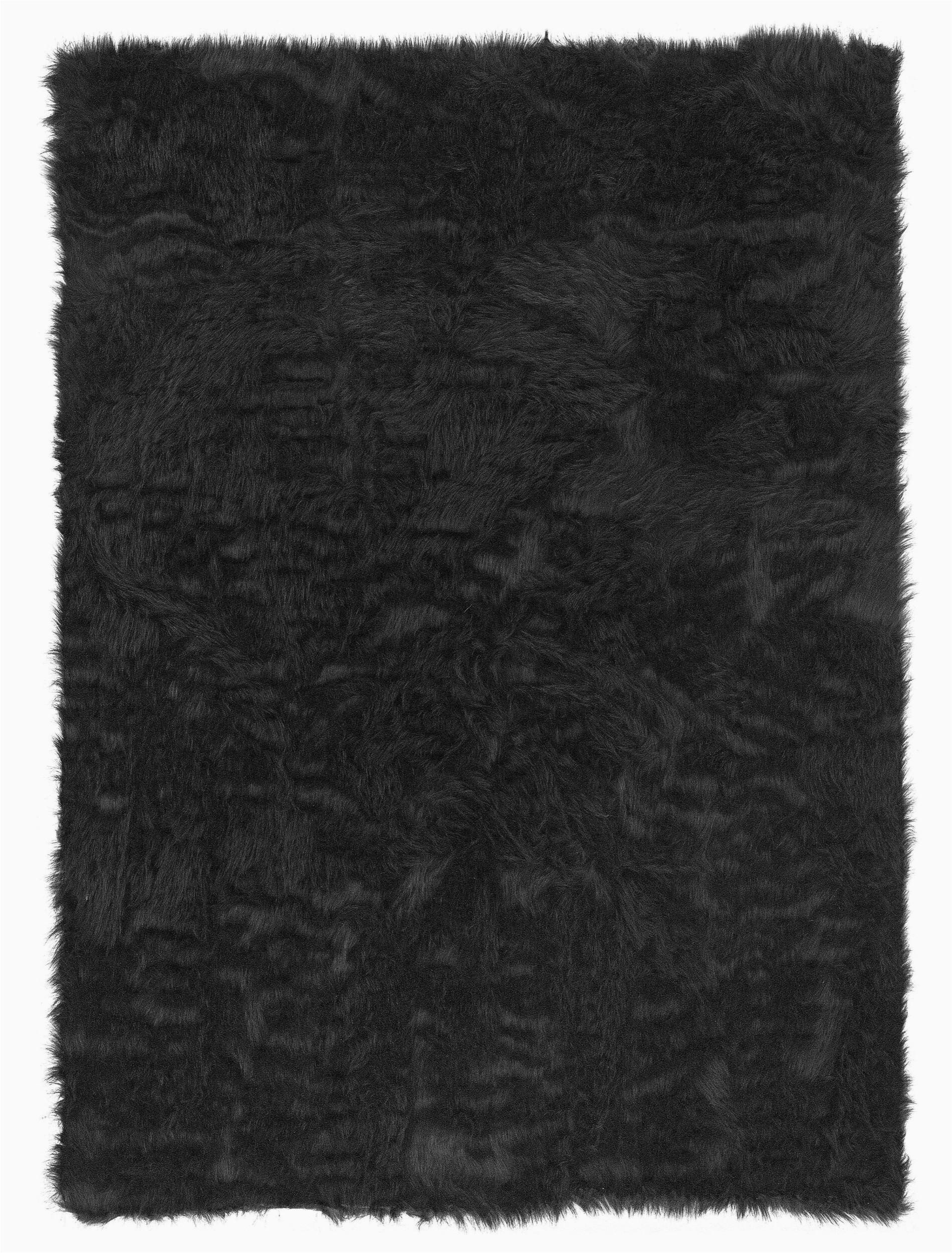 mizuno faux fur black area rug