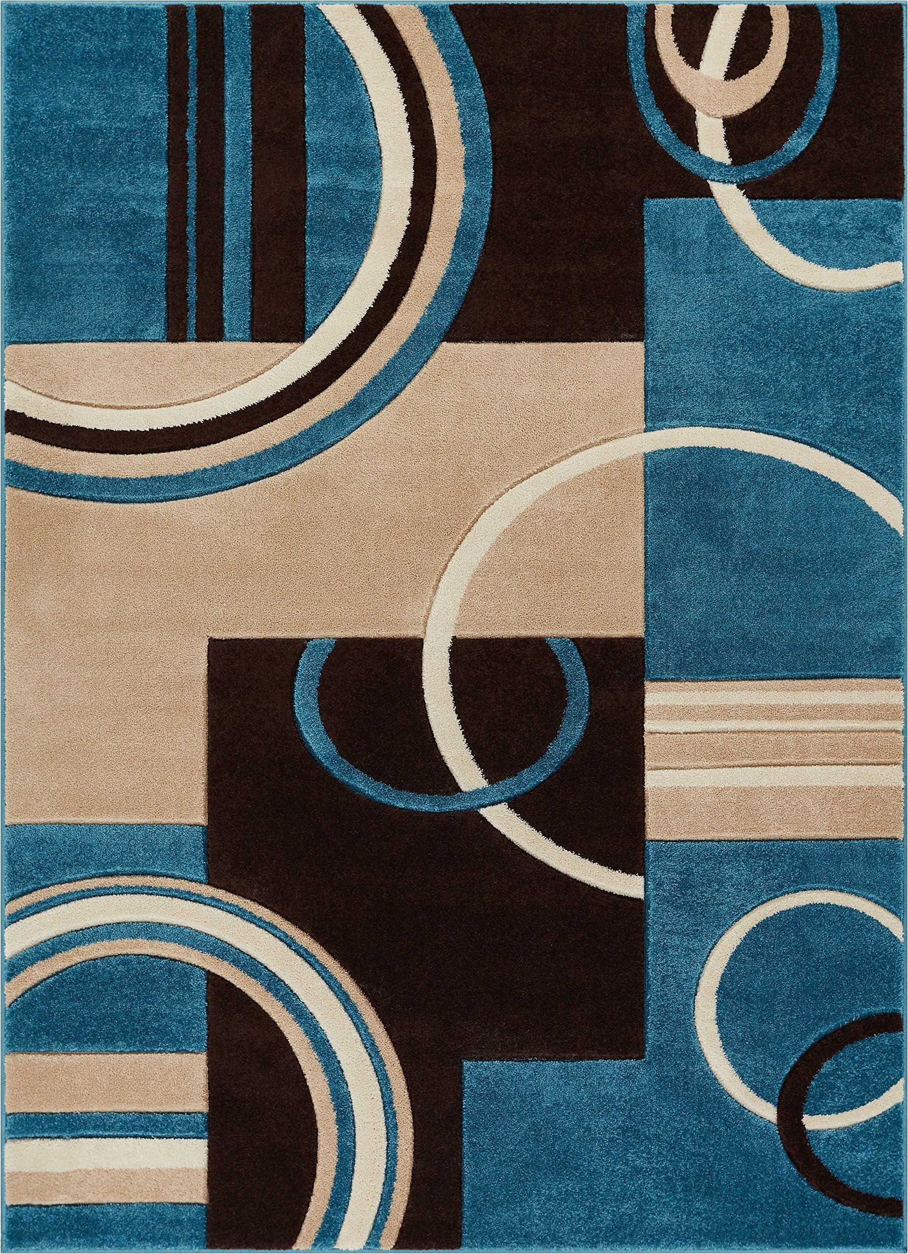 Blue Brown Circle area Rug Echo Shapes and Circles Blue and Brown Modern Geometric