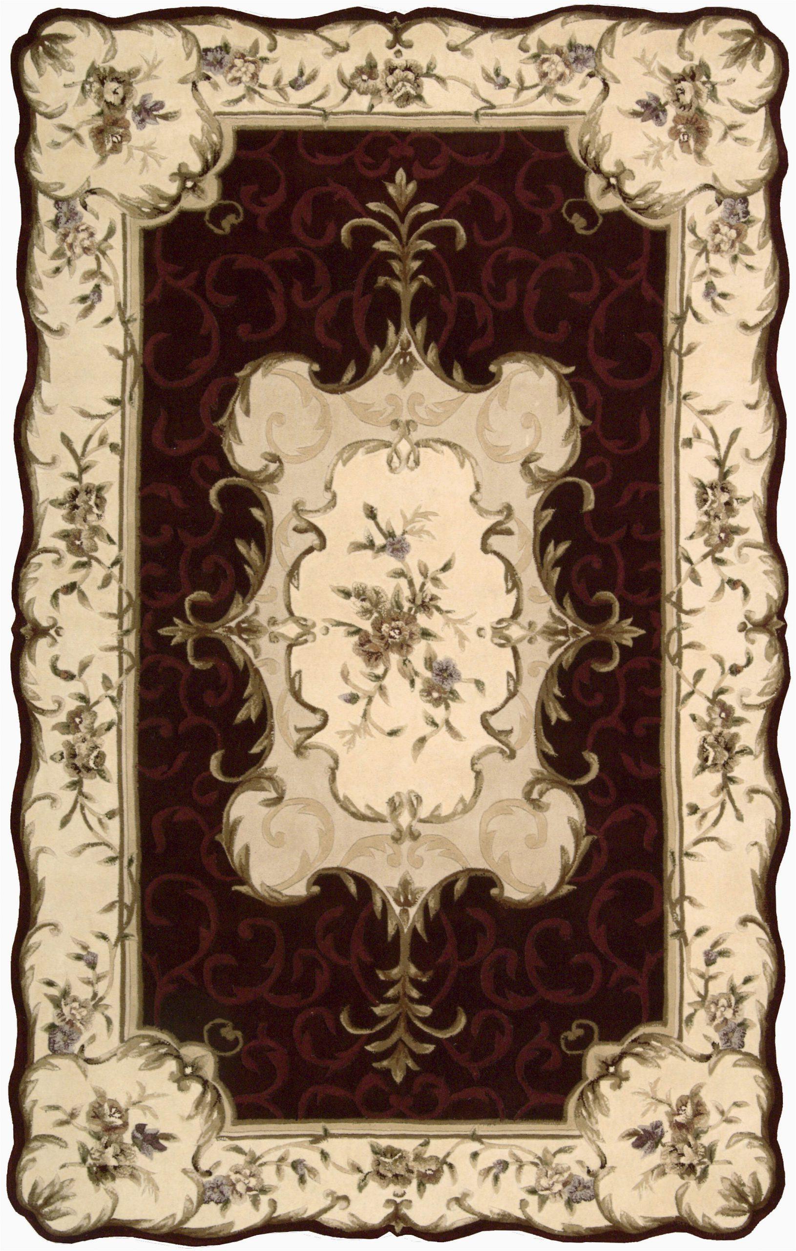 serenata oriental handmade tufted wool burgundybeige area rug