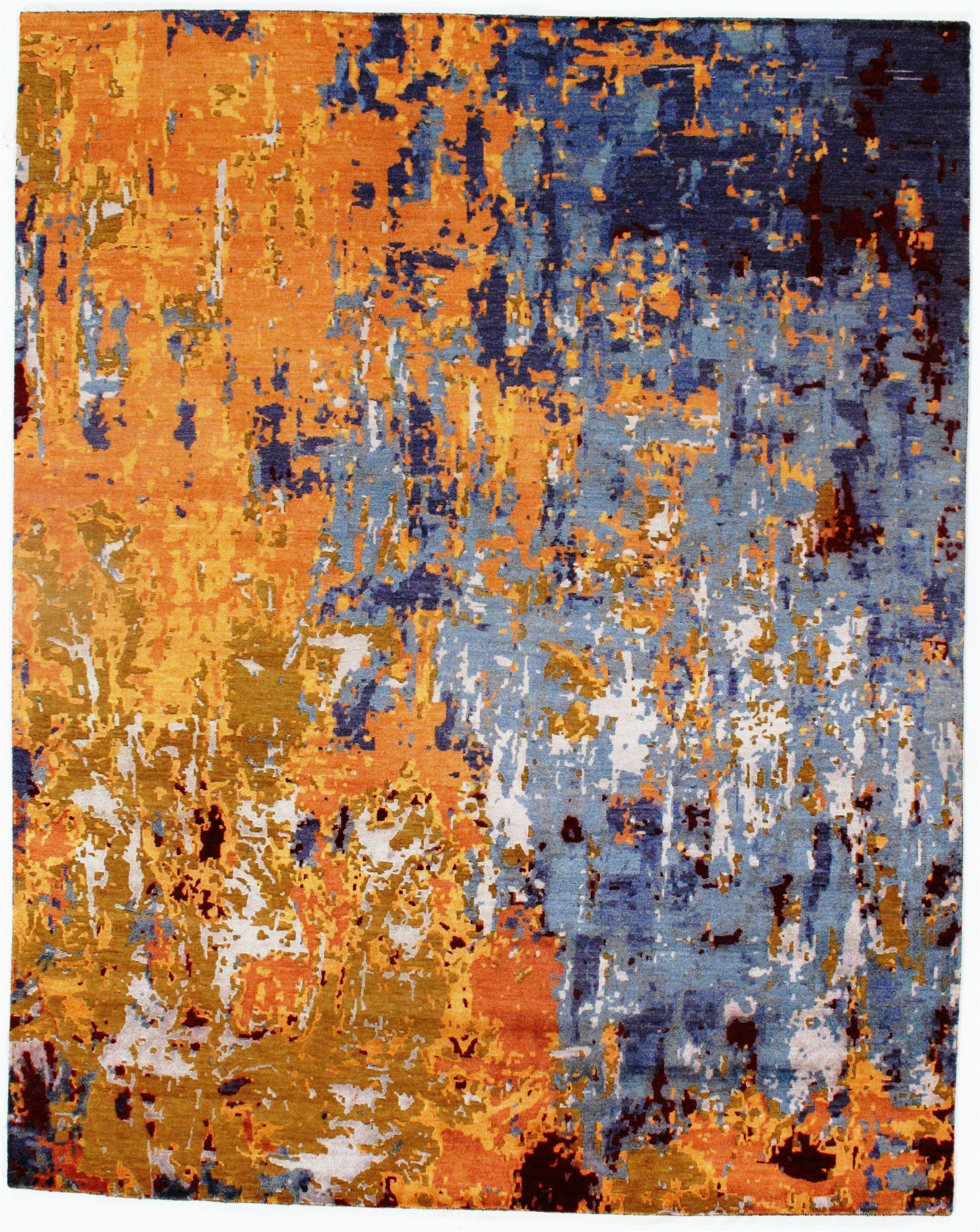 dc modern hand knotted woolsilk orangeblue area rug