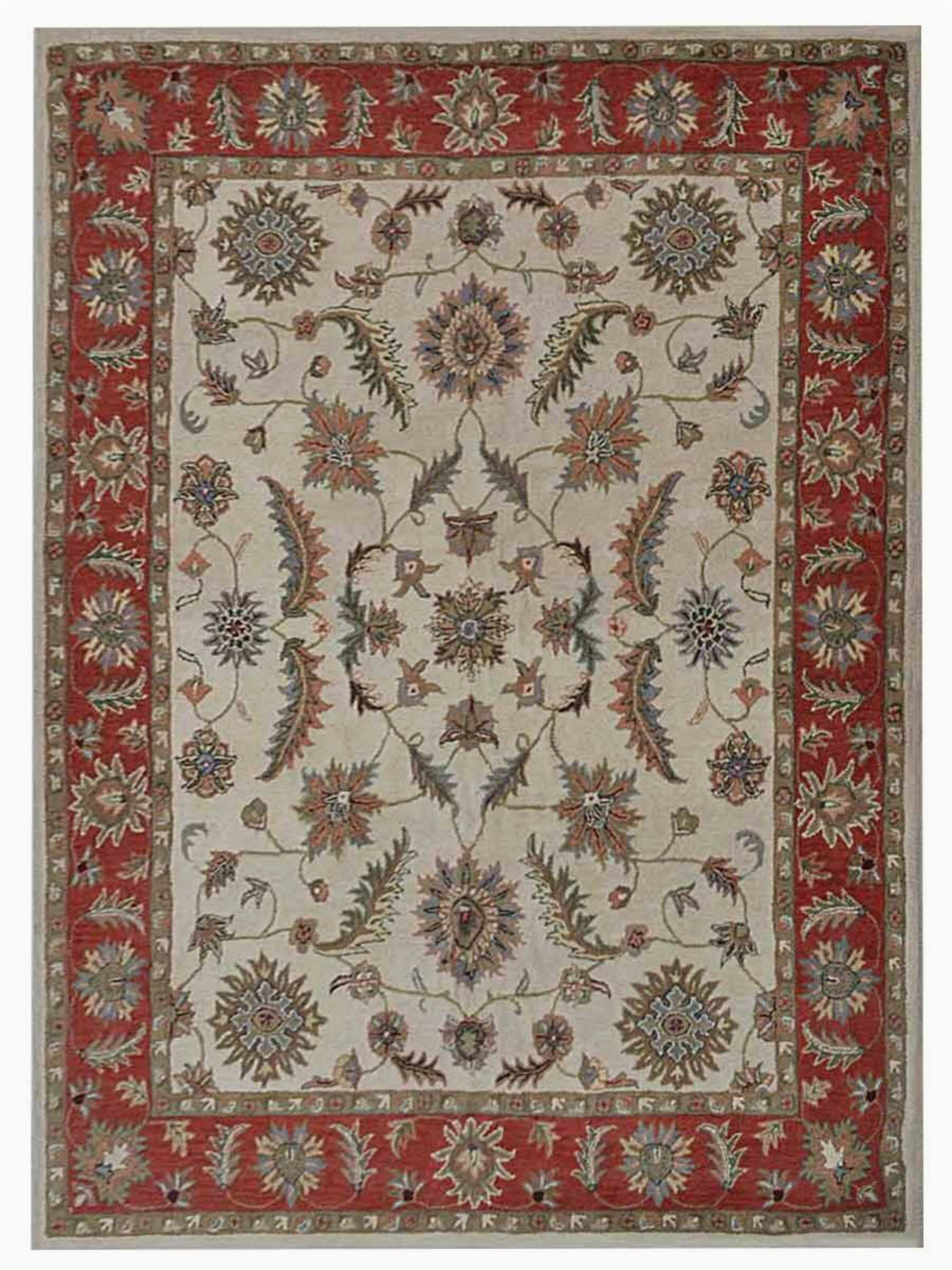 bowman oriental handmade tufted wool creamred area rug