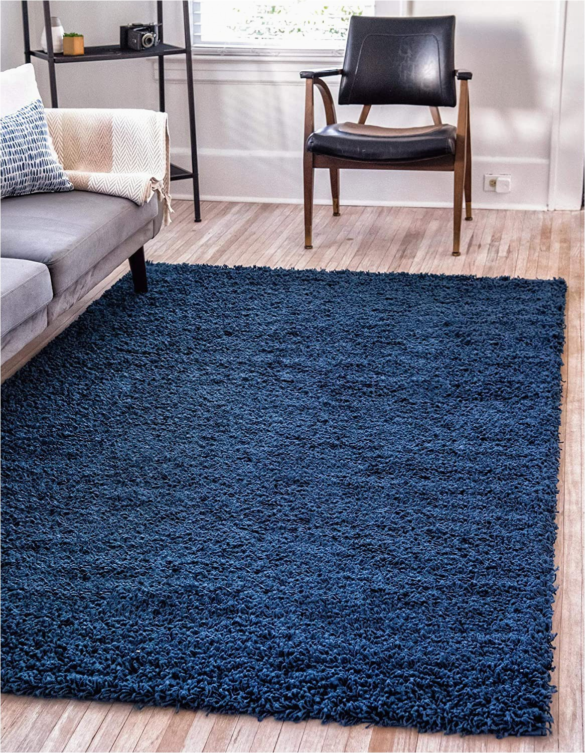 Dark Navy Blue area Rug Unique Loom solo solid Shag Collection Modern Plush Navy Blue area Rug 8 0 X 10 0