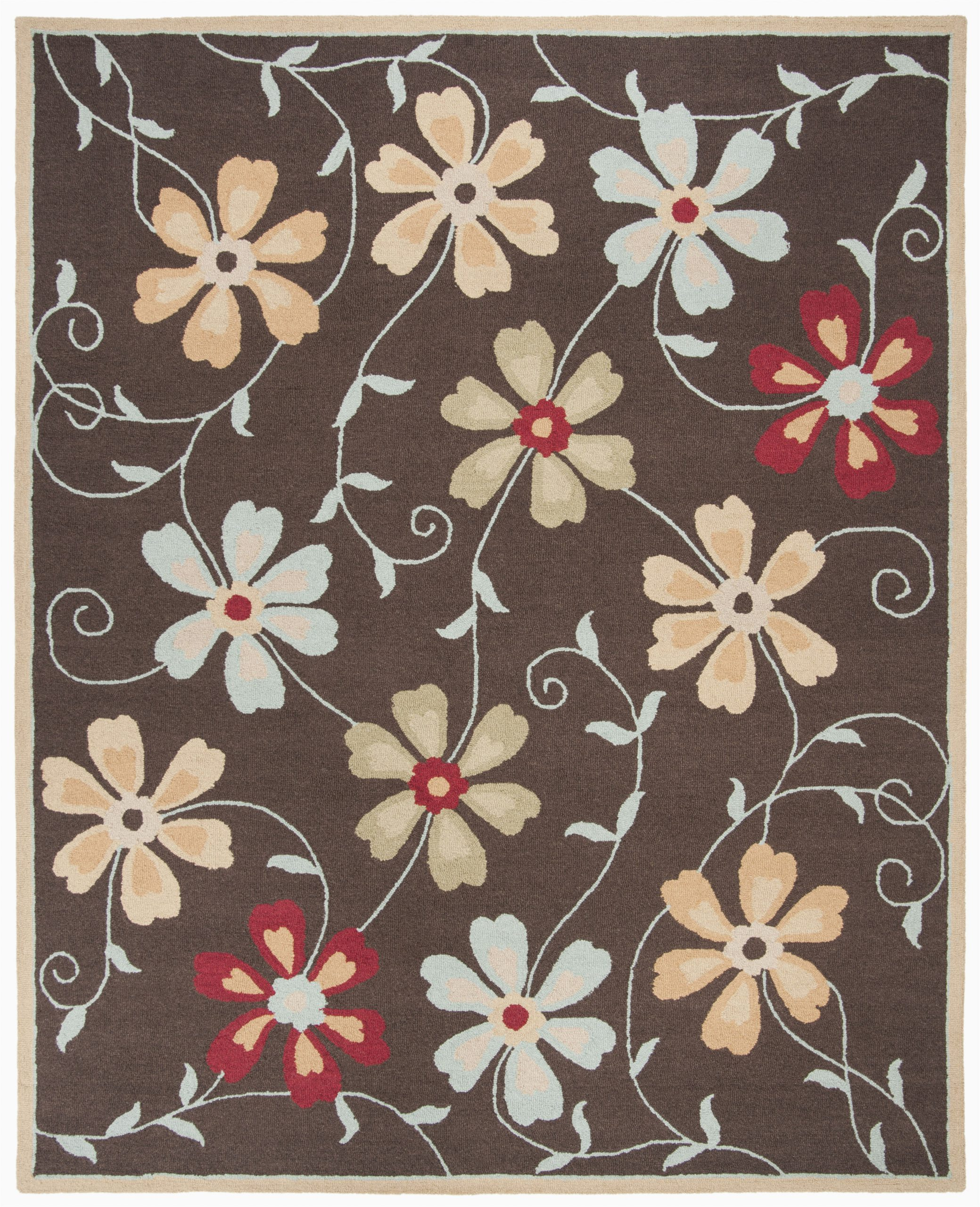 ross hand hooked wool brownred area rug