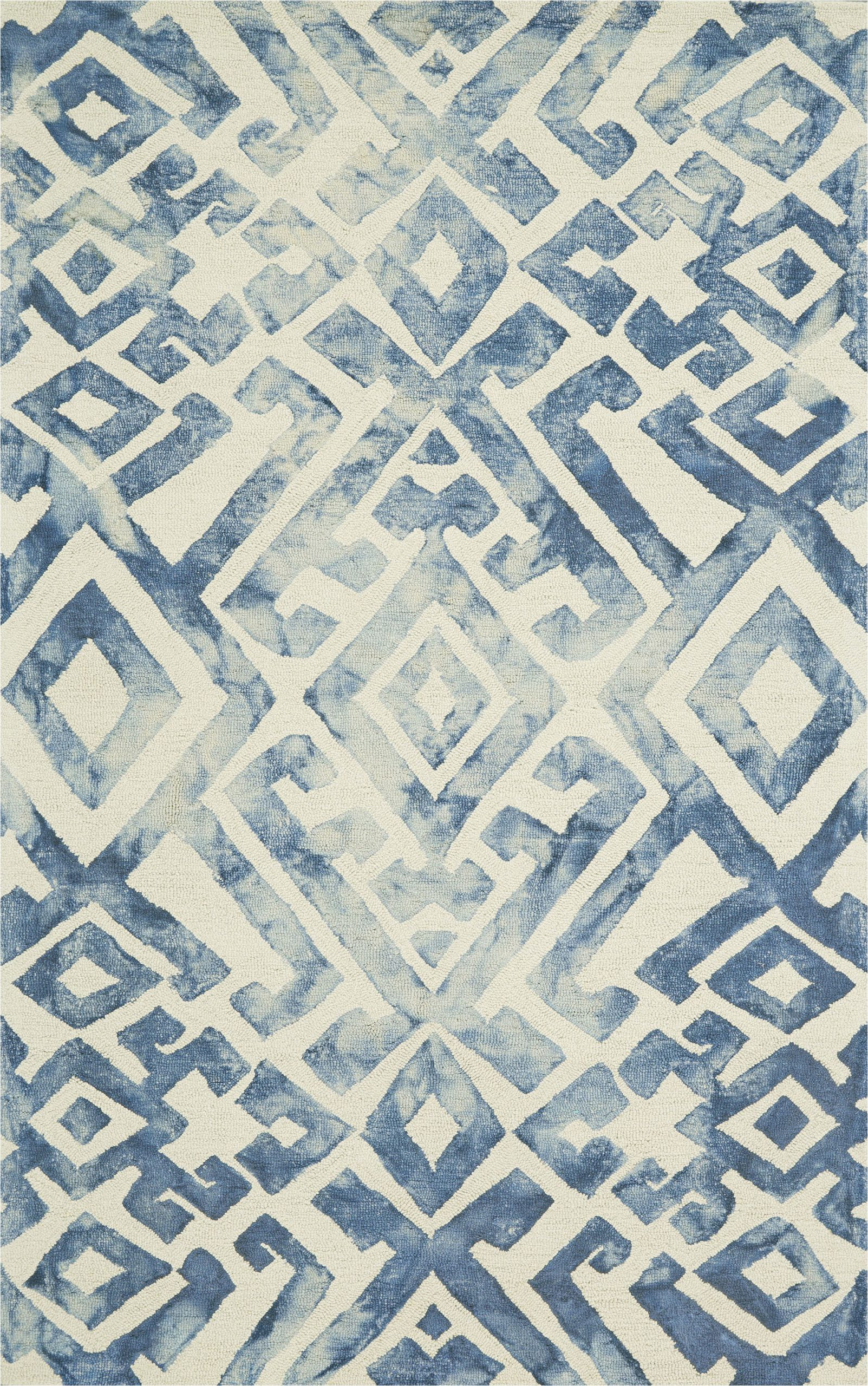 frederick geometric hand hooked tufted wool blue area rug